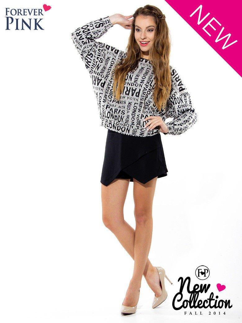 Nietoperzowa bluzka z motywem fashion                                  zdj.                                  2