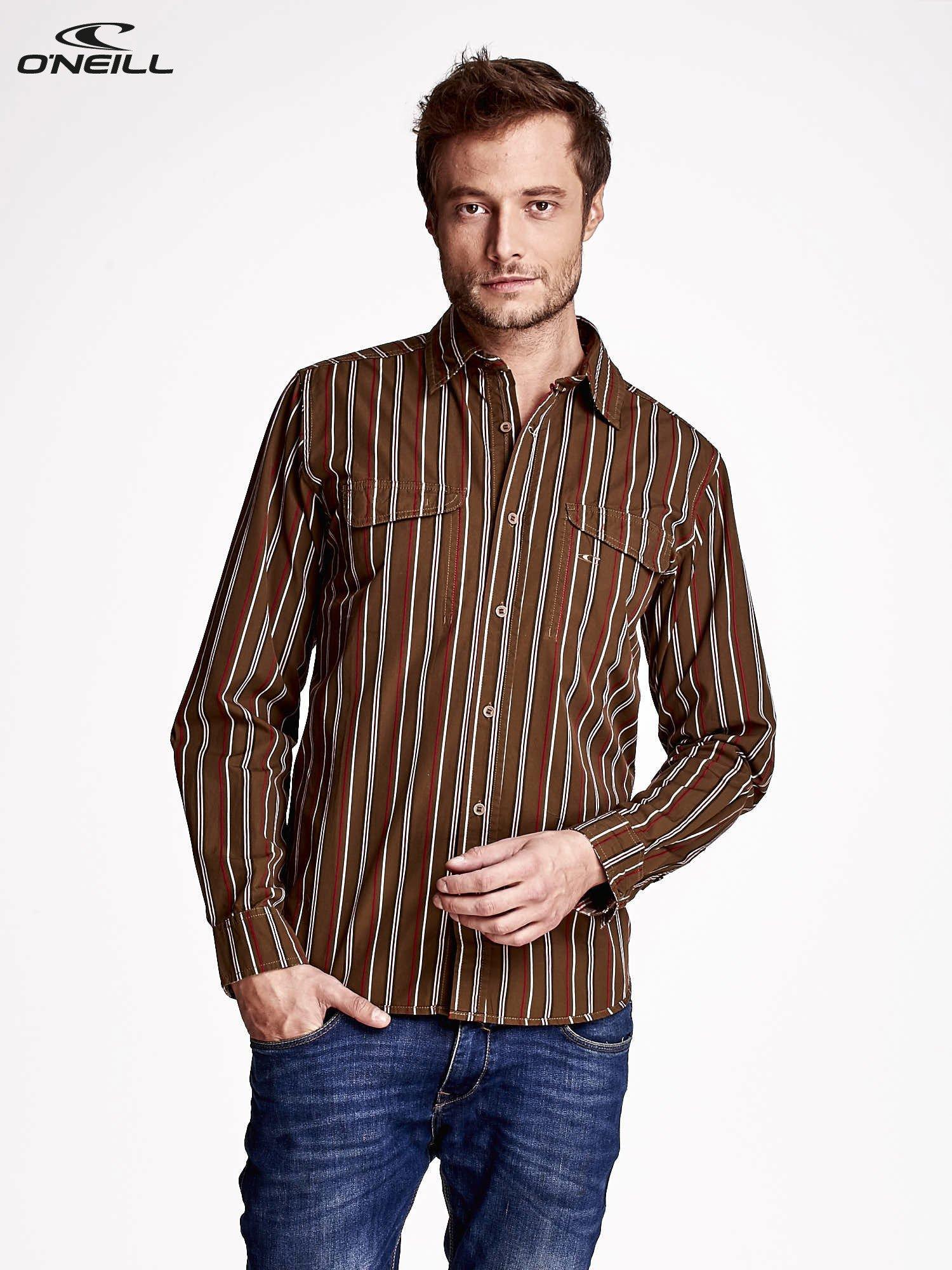 916779f3d49b O NEILL Brązowa koszula męska w kolorowe paski - Mężczyźni koszula ...
