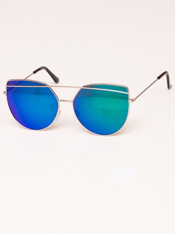 Okulary przeciwsłoneczne damskie lustrzanki srebrne Szkło zielono niebieskie