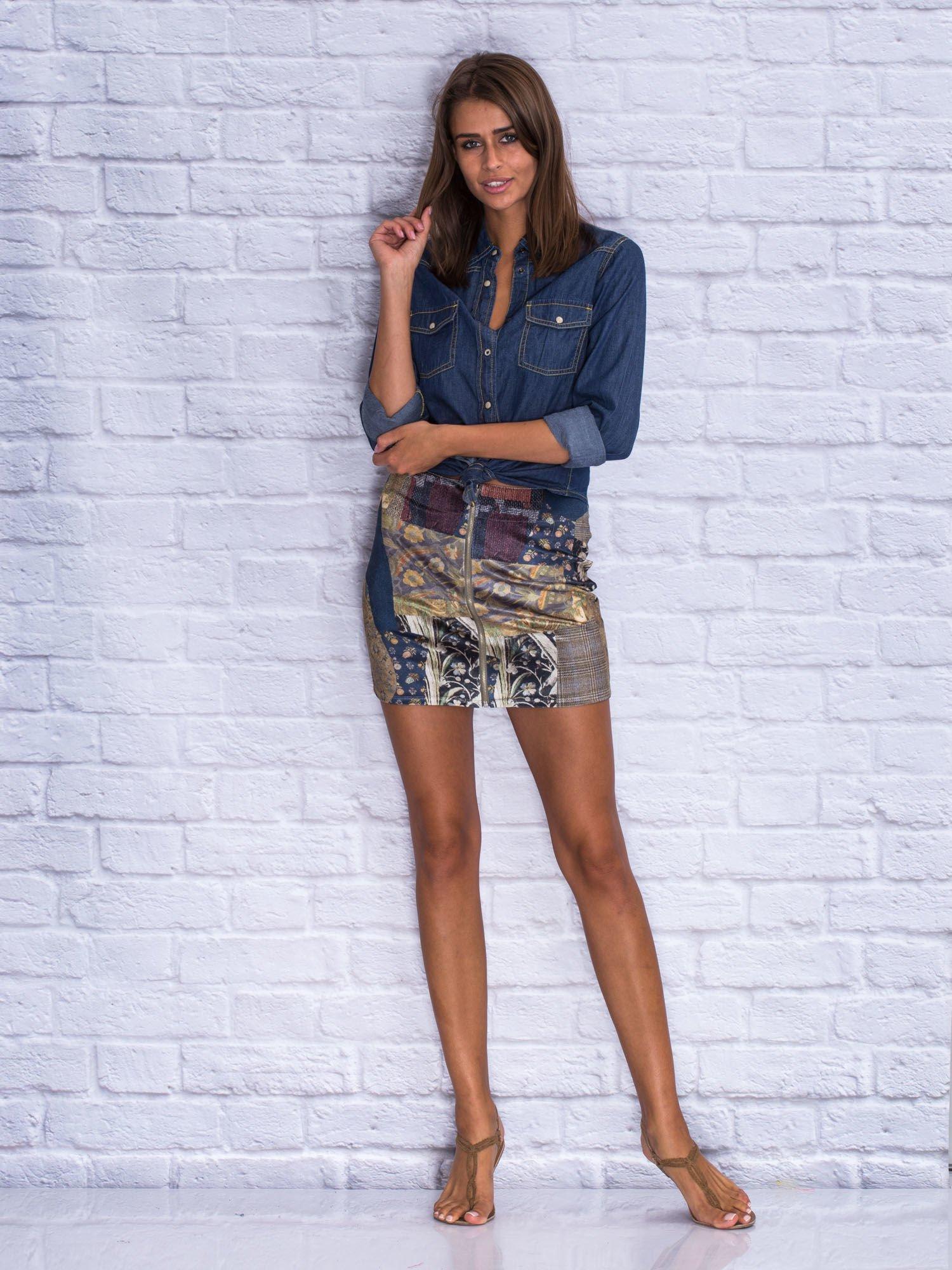 Patchworkowa spódnica mini z zamkiem                                  zdj.                                  3