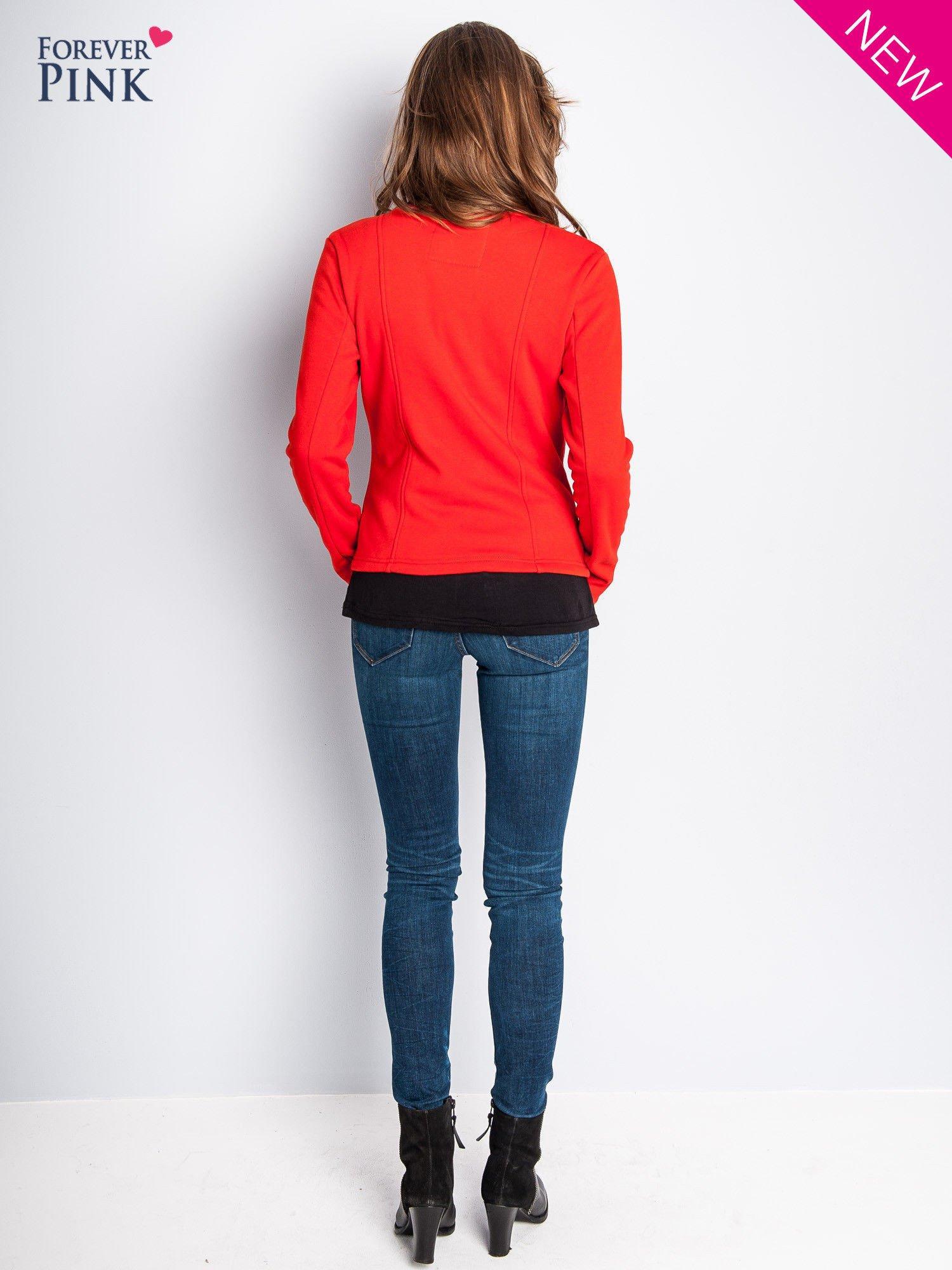 Pomarańczowa bluza o kroju ramoneski z asymetrycznym suwakiem                                  zdj.                                  3