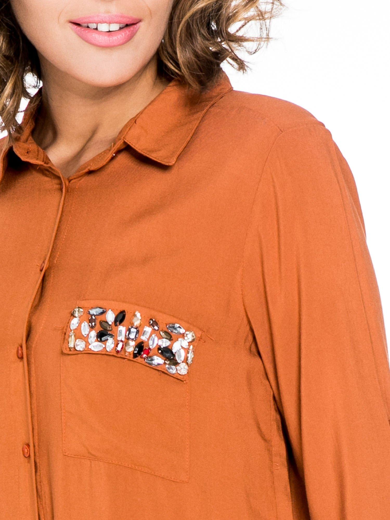 Pomarańczowa koszula z biżuteryjną kieszonką                                  zdj.                                  7