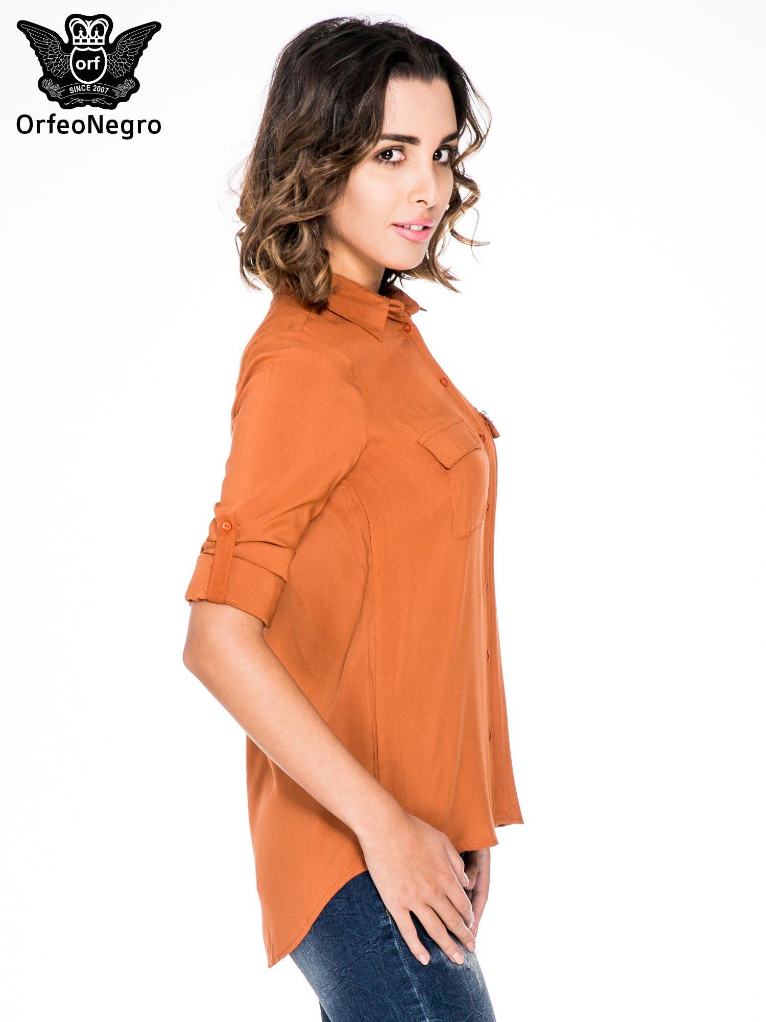 Pomarańczowa koszula z biżuteryjną kieszonką                                  zdj.                                  5