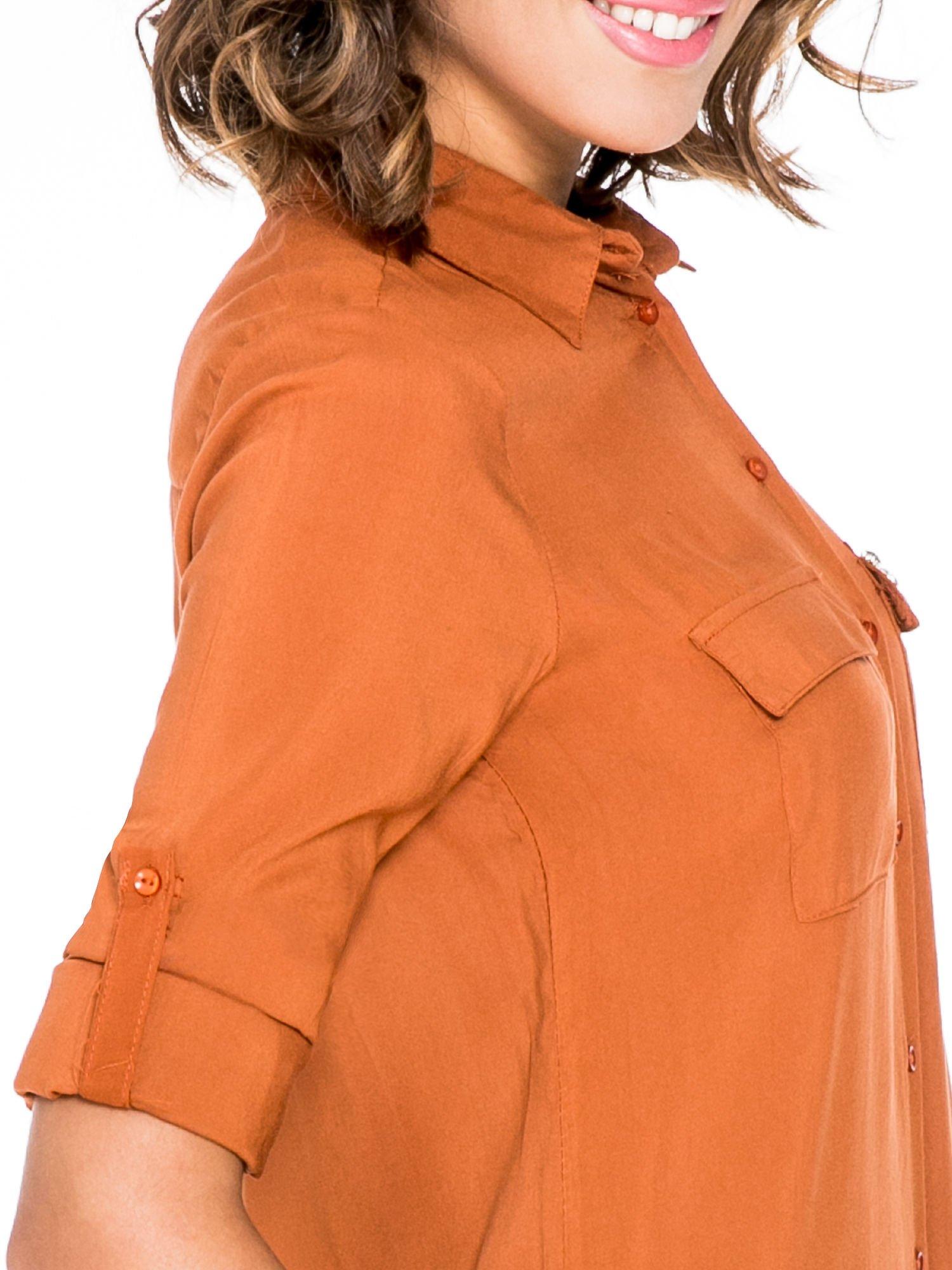 Pomarańczowa koszula z biżuteryjną kieszonką                                  zdj.                                  9