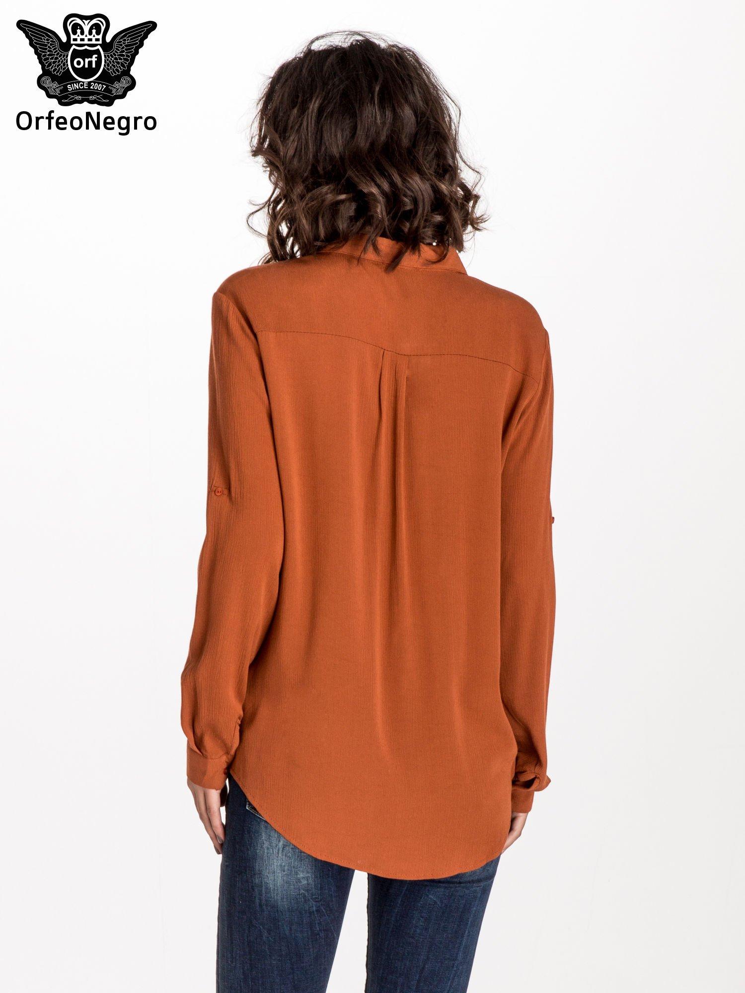 Pomarańczowa koszula z kołnierzykiem zdobionym kamieniami                                  zdj.                                  5