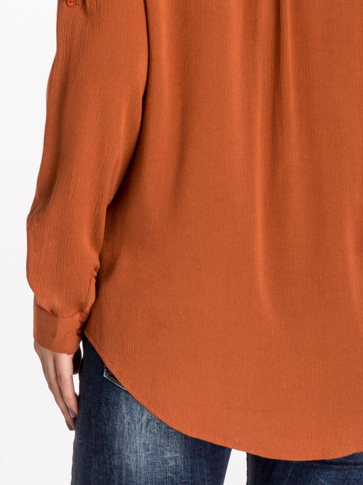 Pomarańczowa koszula z kołnierzykiem zdobionym kamieniami                                  zdj.                                  6