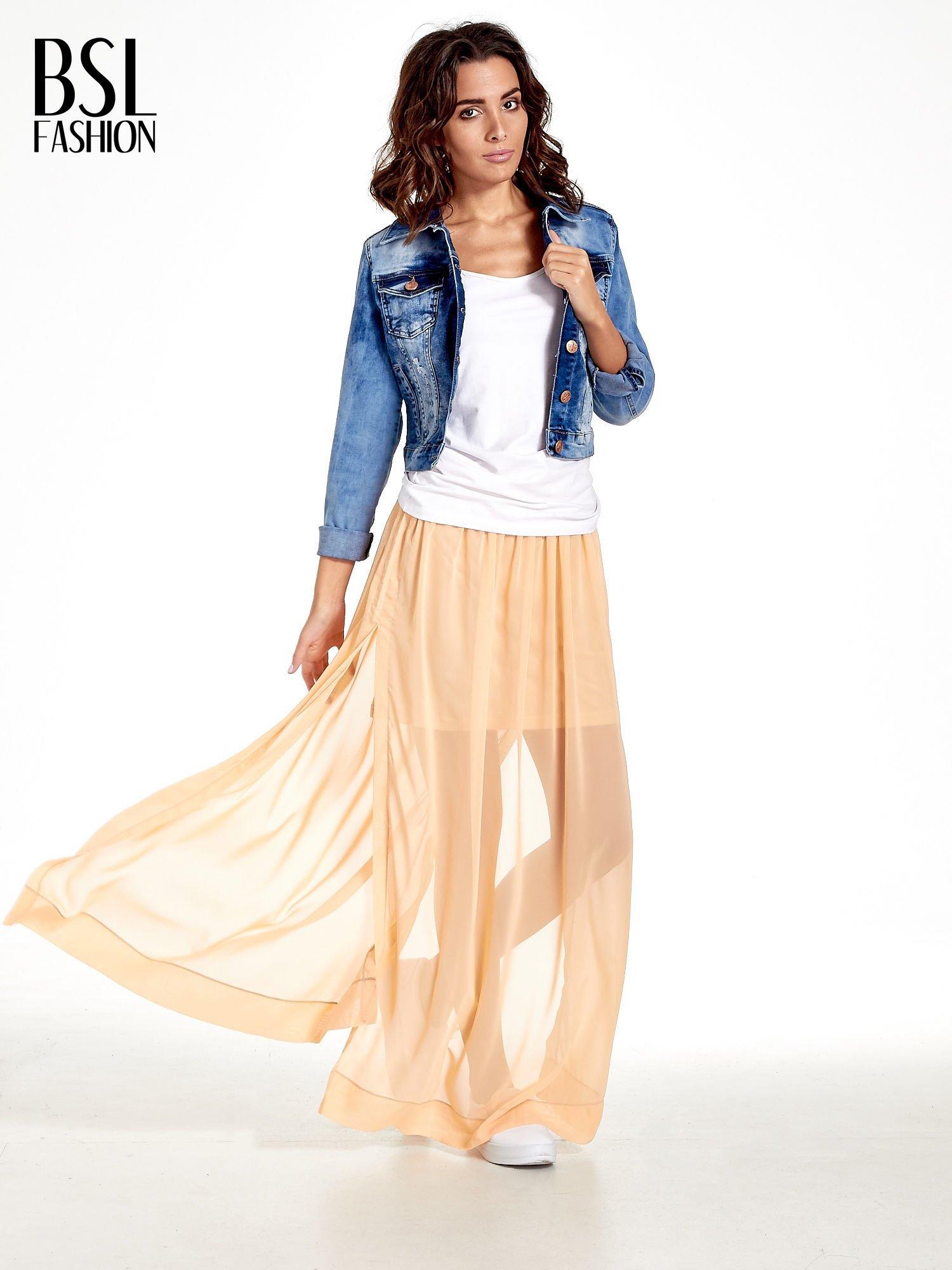 Pomarańczowa spódnica maxi transparentna                                  zdj.                                  2