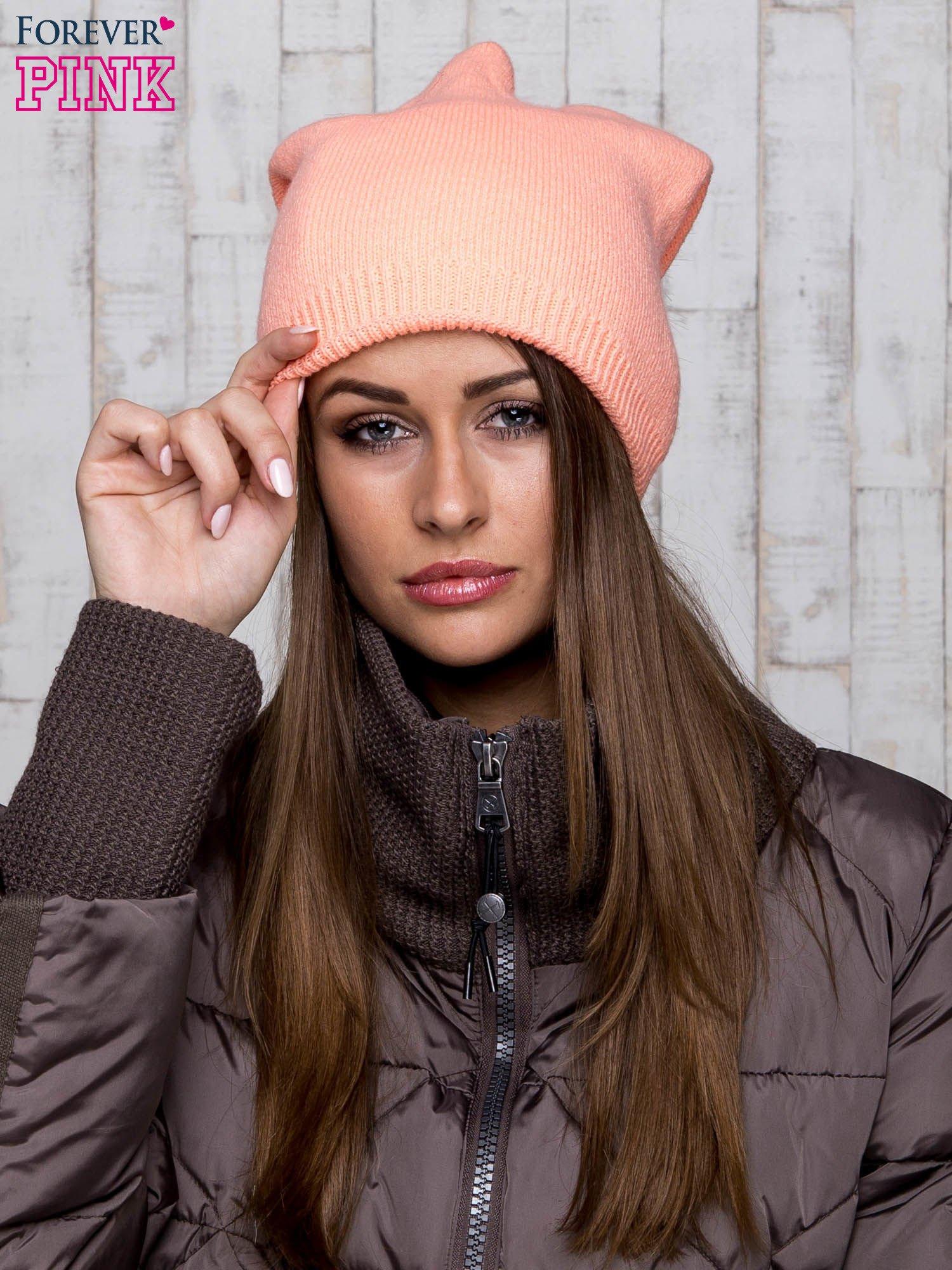Pomarańczowa wełniana czapka z futrzanym pomponem                                   zdj.                                  1