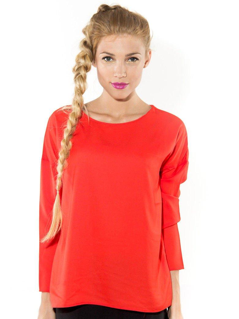 Pomarańczowa zwiewna koszula z łódkowym dekoltem                                  zdj.                                  1