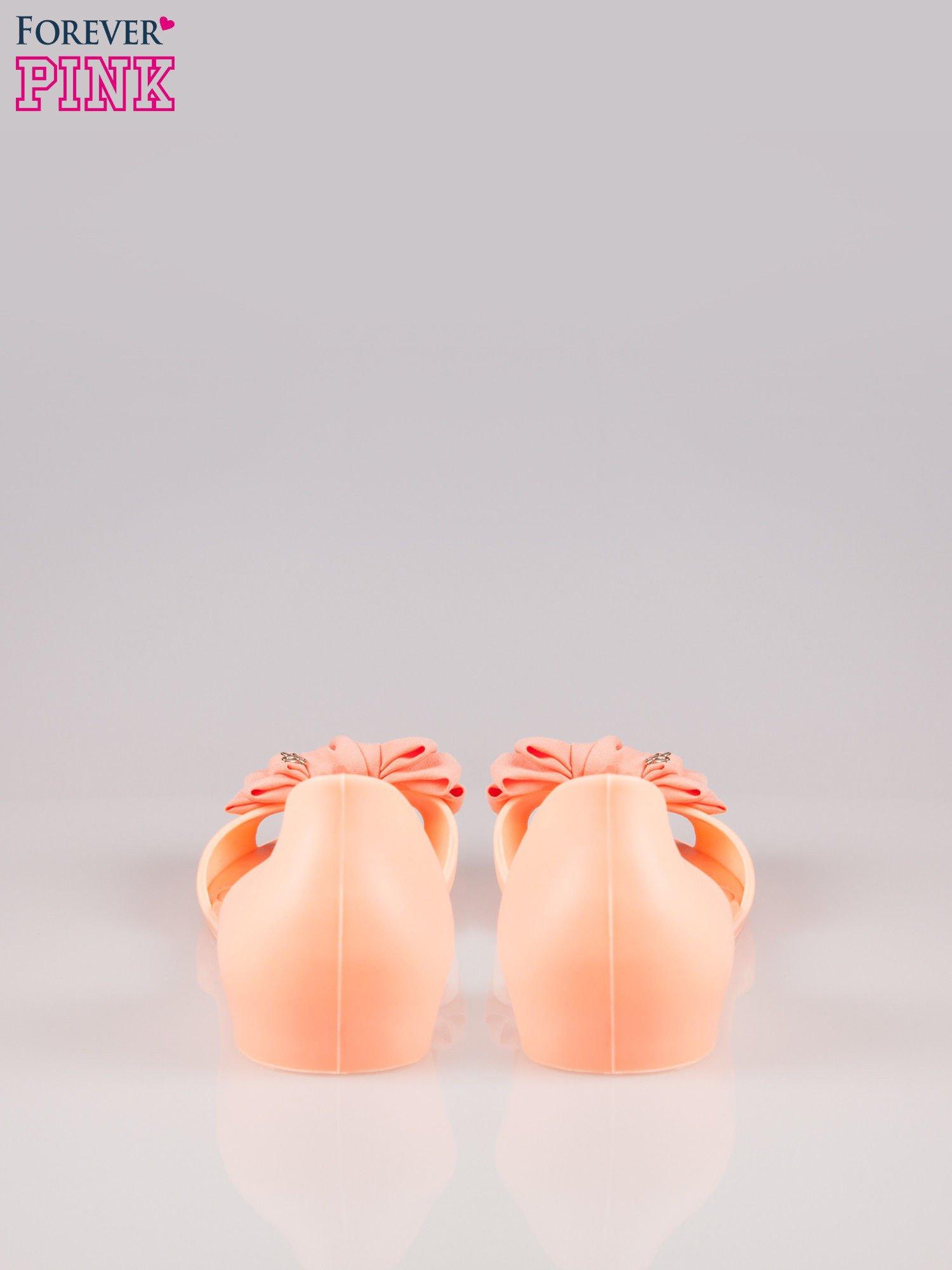 Pomarańczowe gumowe baleriny peep toe z materiałową kokardą                                  zdj.                                  3