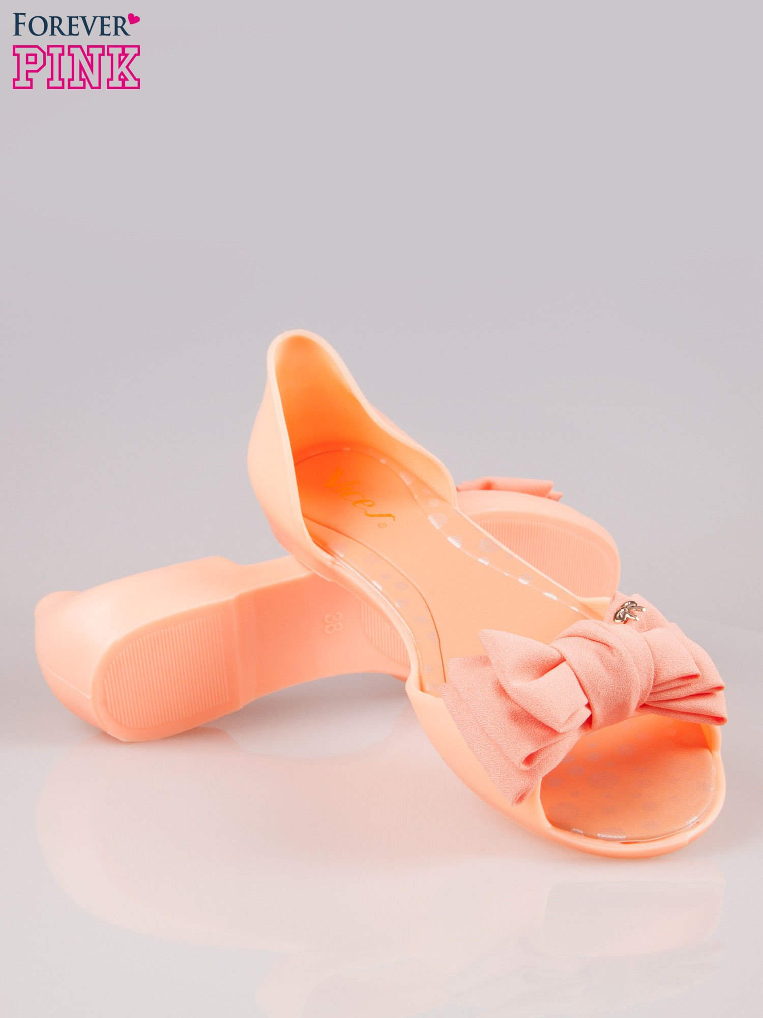 Pomarańczowe gumowe baleriny peep toe z materiałową kokardą                                  zdj.                                  4