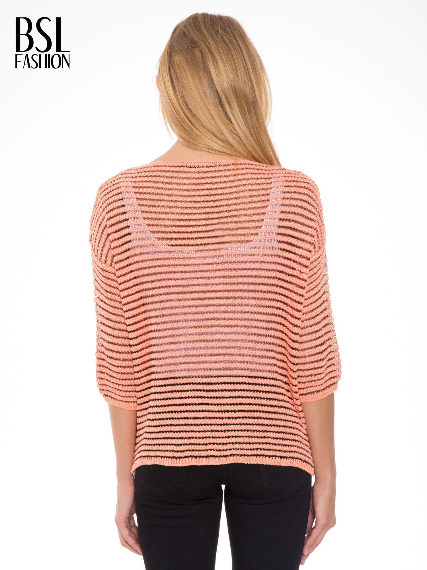 Pomarańczowy półtransparentny sweter w prążki                                  zdj.                                  2
