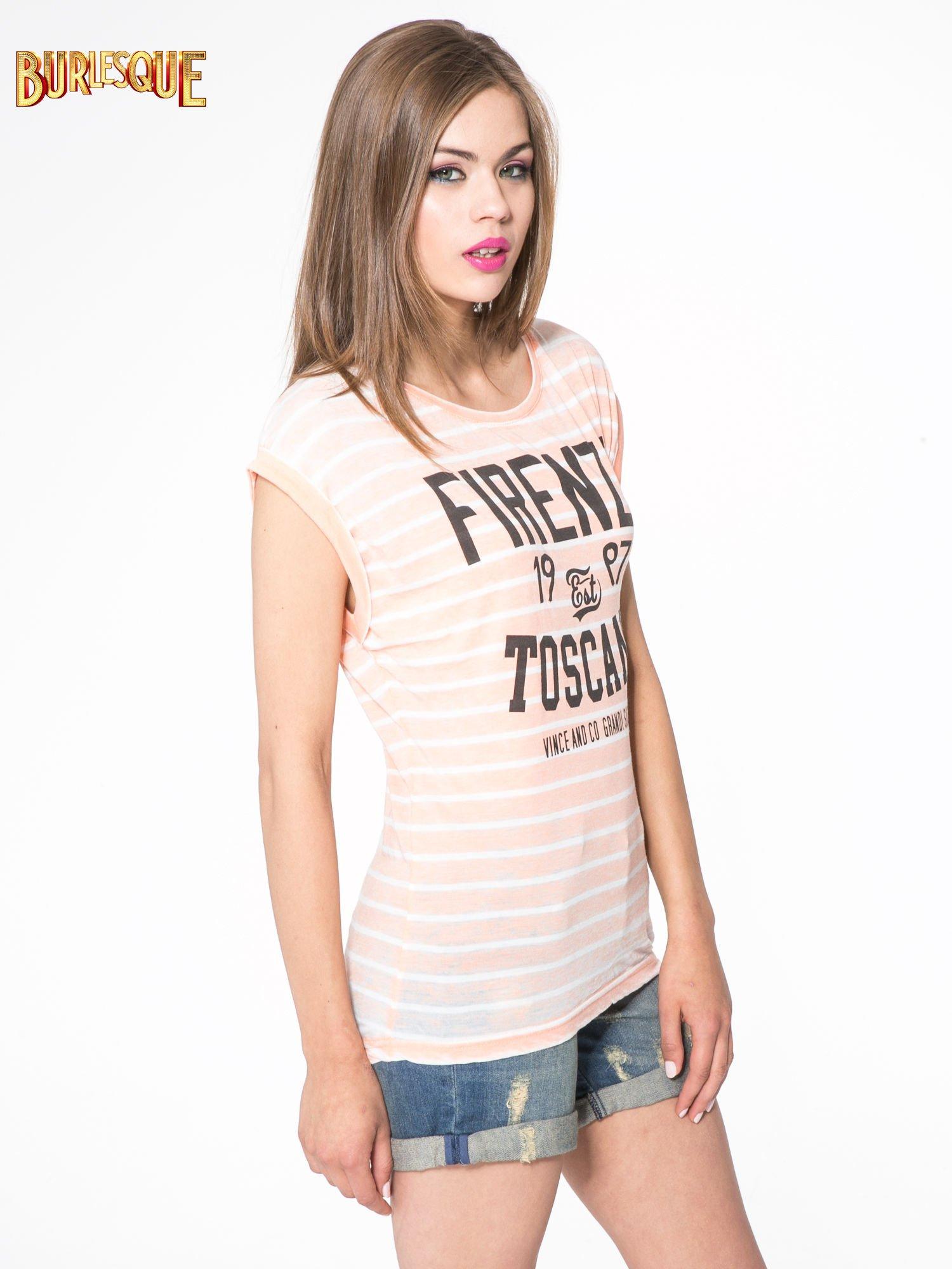 Pomarańczowy t-shirt w paski z napisem FIRENZE TOSCANA                                  zdj.                                  3