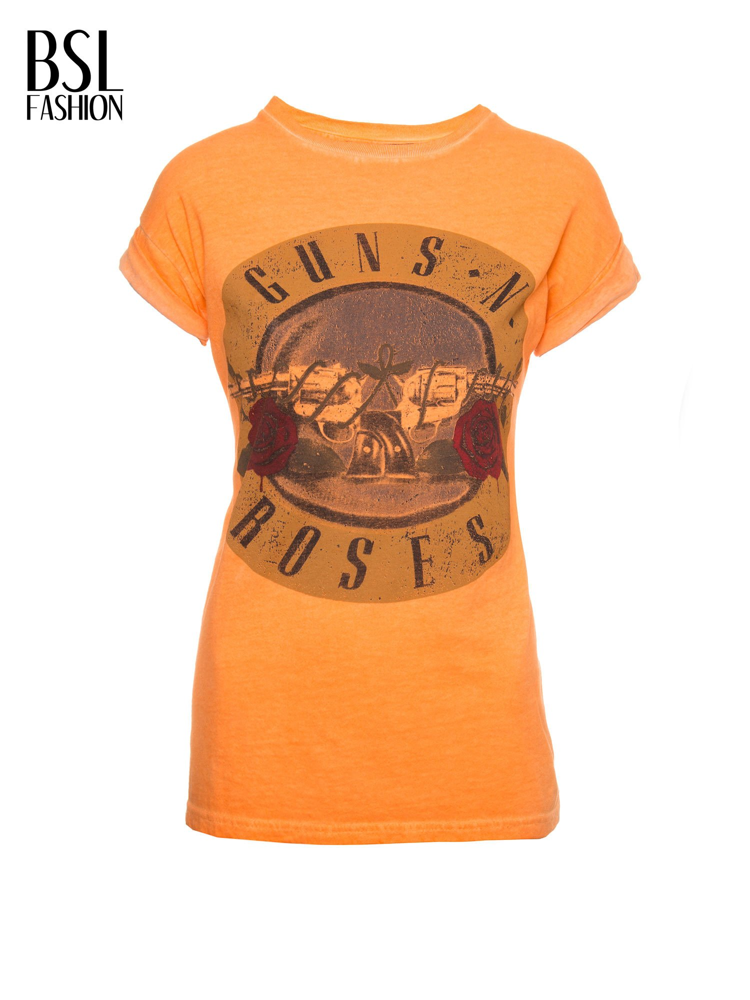 Pomarańczowy t-shirt z nadrukiem GUNS N' ROSES                                  zdj.                                  8