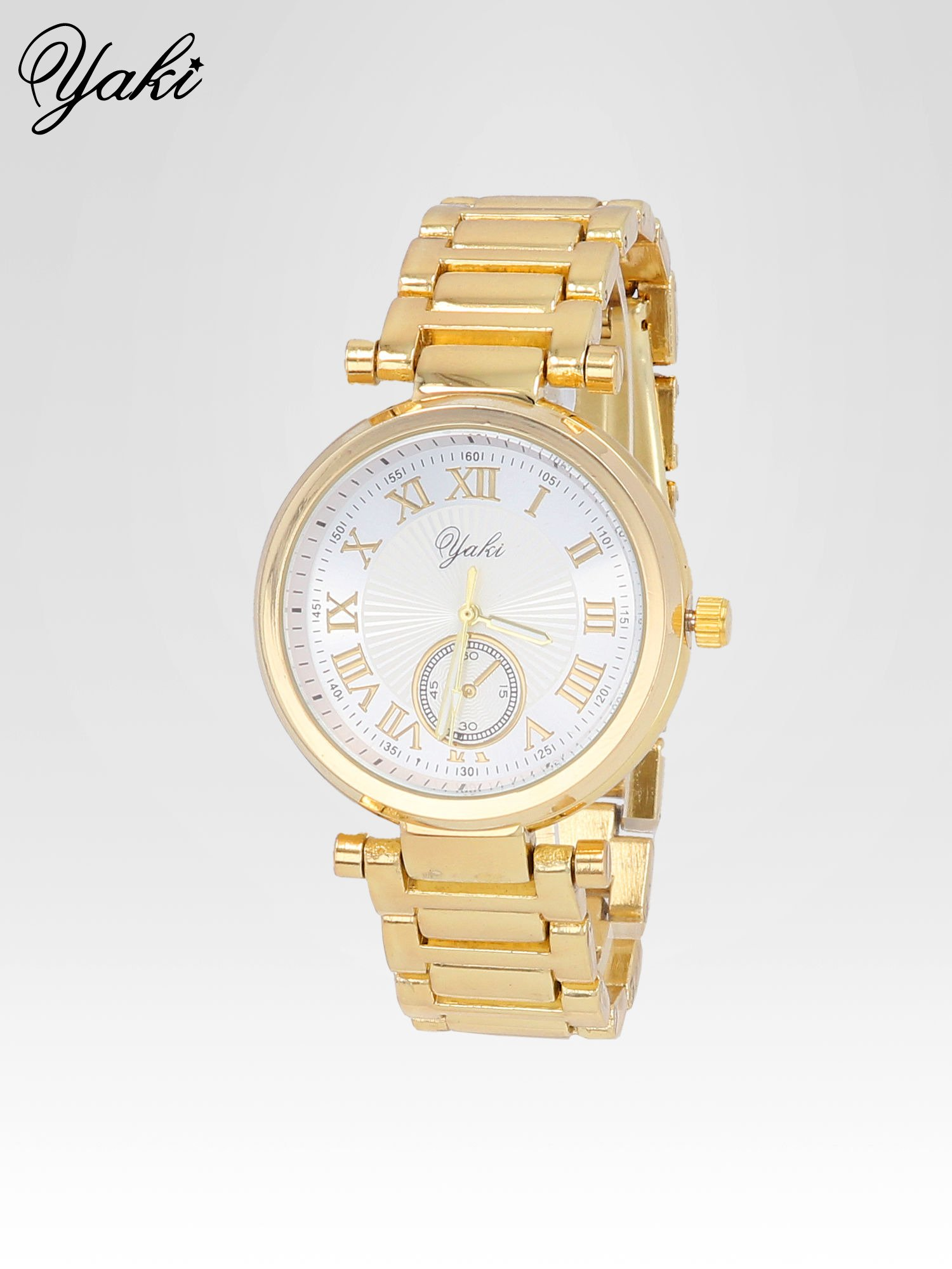 Prosty złoty zegarek damski na bransolecie z białą tarczą                                  zdj.                                  2