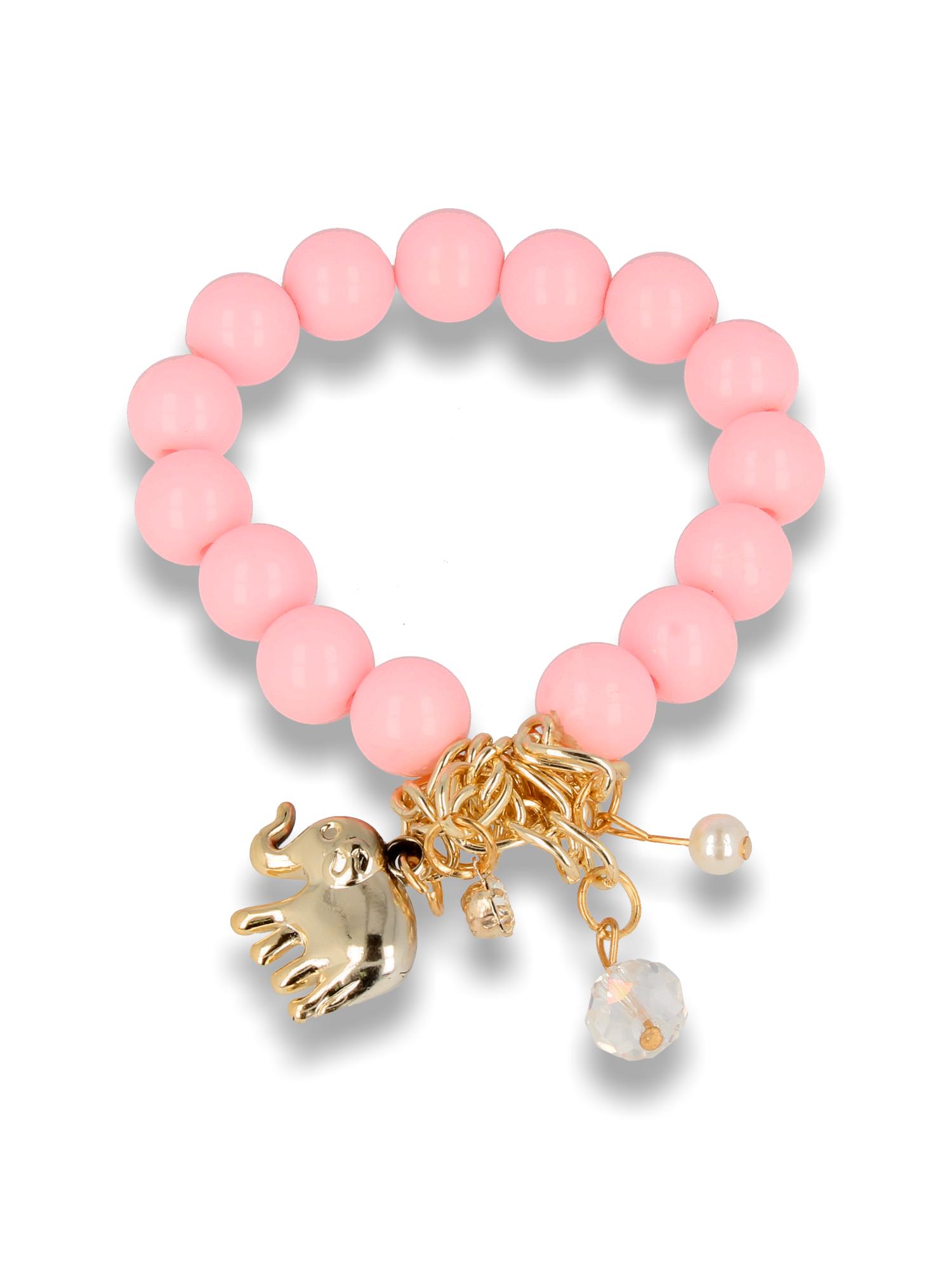 Różowa Bransoletka koralikowa z bogatą zawieszką                                  zdj.                                  1