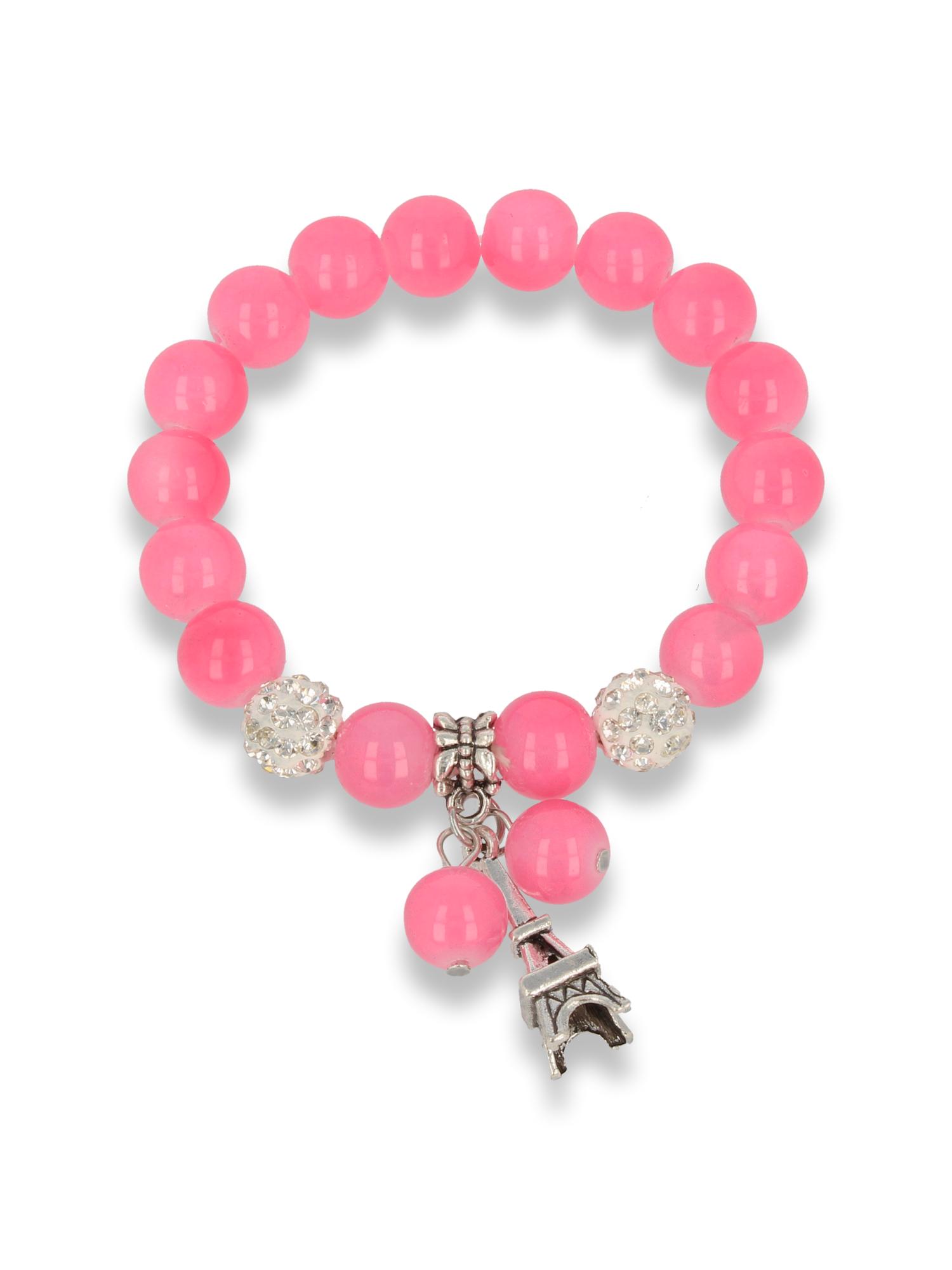 Różowa Bransoletka koralikowa z zawieszką w kształcie wieży eiffla                                  zdj.                                  1