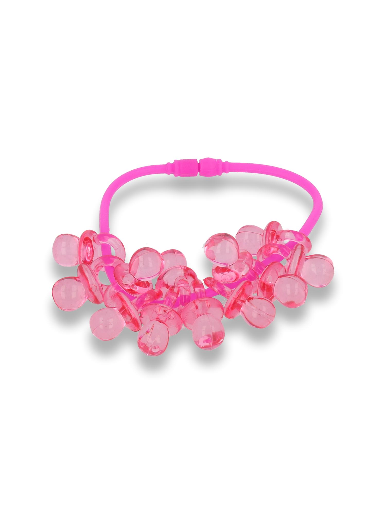 Różowa Bransoletka z zawieszkami w kształcie smoczków - baby shower                                  zdj.                                  1