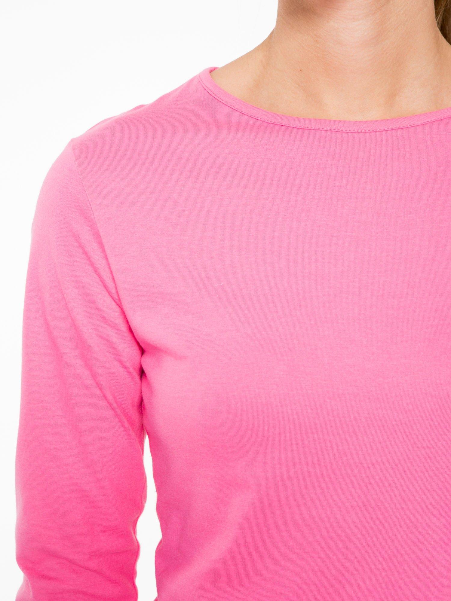 Różowa bawełniana bluzka typu basic z długim rękawem                                  zdj.                                  5