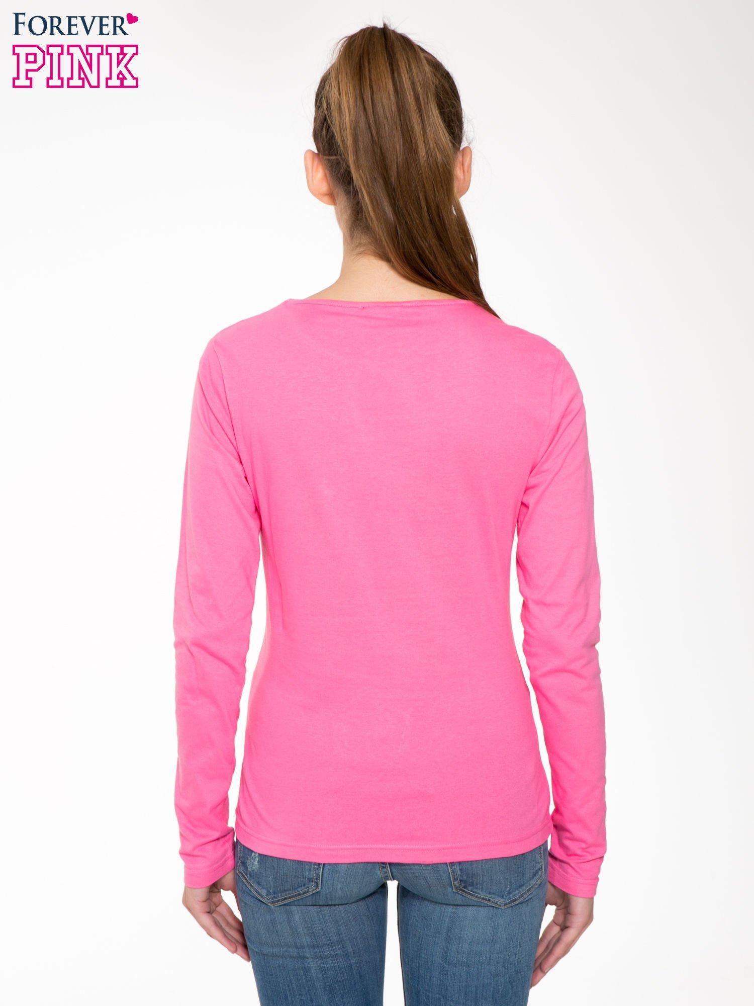 Różowa bawełniana bluzka typu basic z długim rękawem                                  zdj.                                  4
