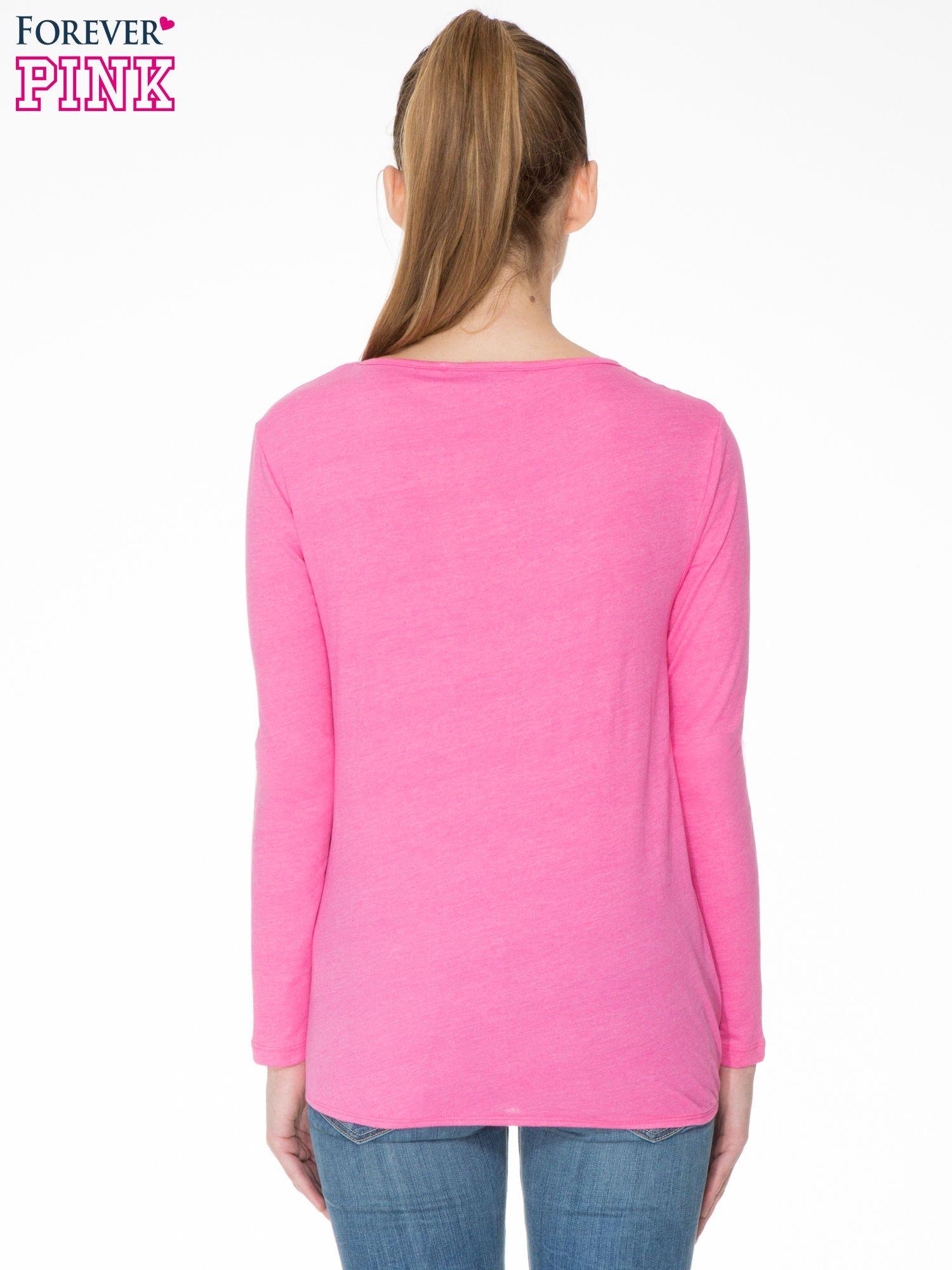 Różowa bawełniana bluzka z gumką na dole                                  zdj.                                  4