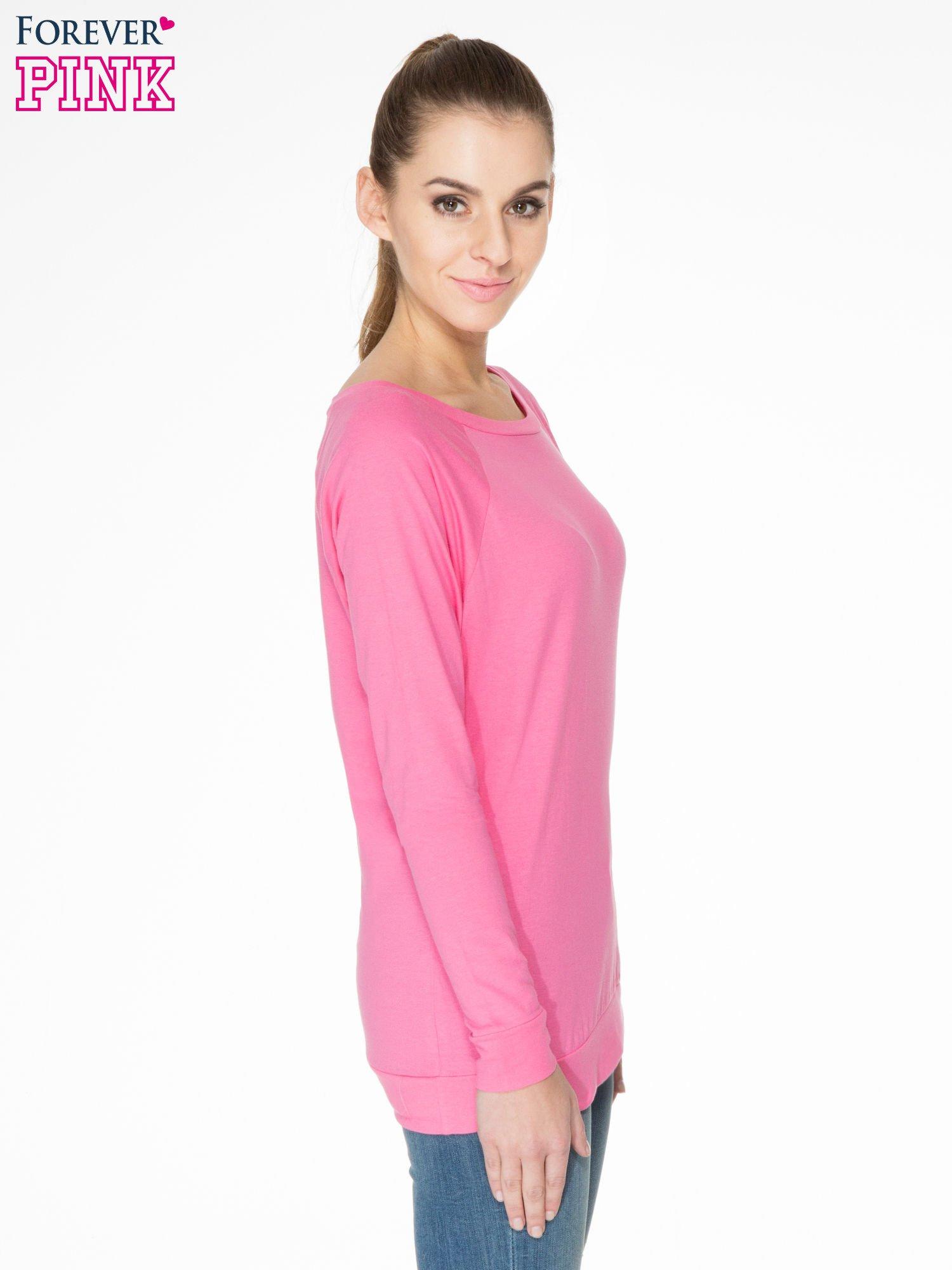 Różowa bawełniana bluzka z rękawami typu reglan                                  zdj.                                  3