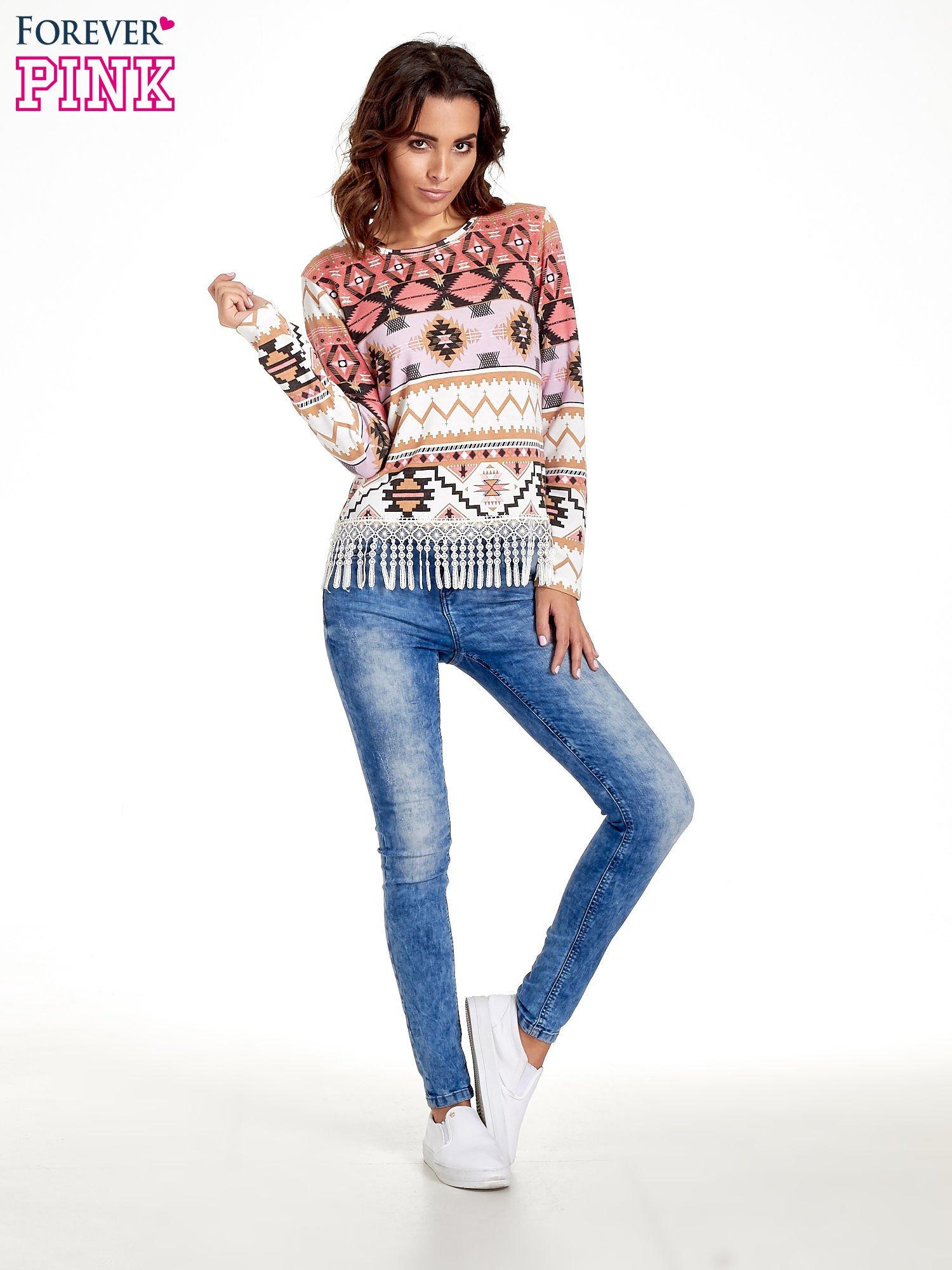 Różowa bluza w azteckie wzory z koronką z frędzlami                                  zdj.                                  7