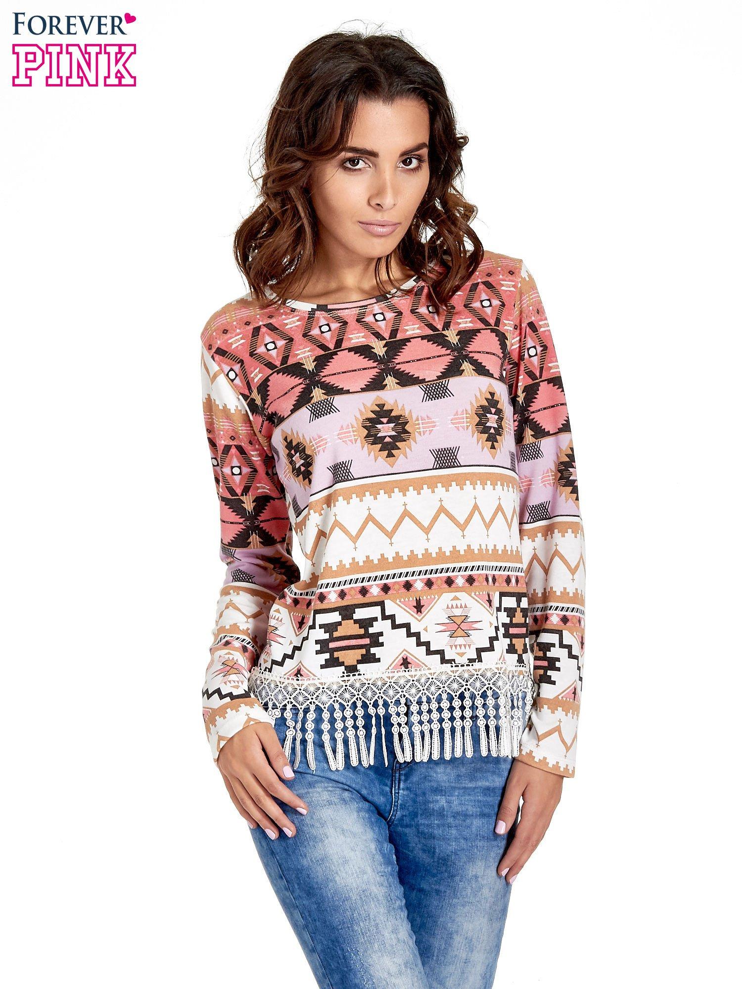 Różowa bluza w azteckie wzory z koronką z frędzlami                                  zdj.                                  1