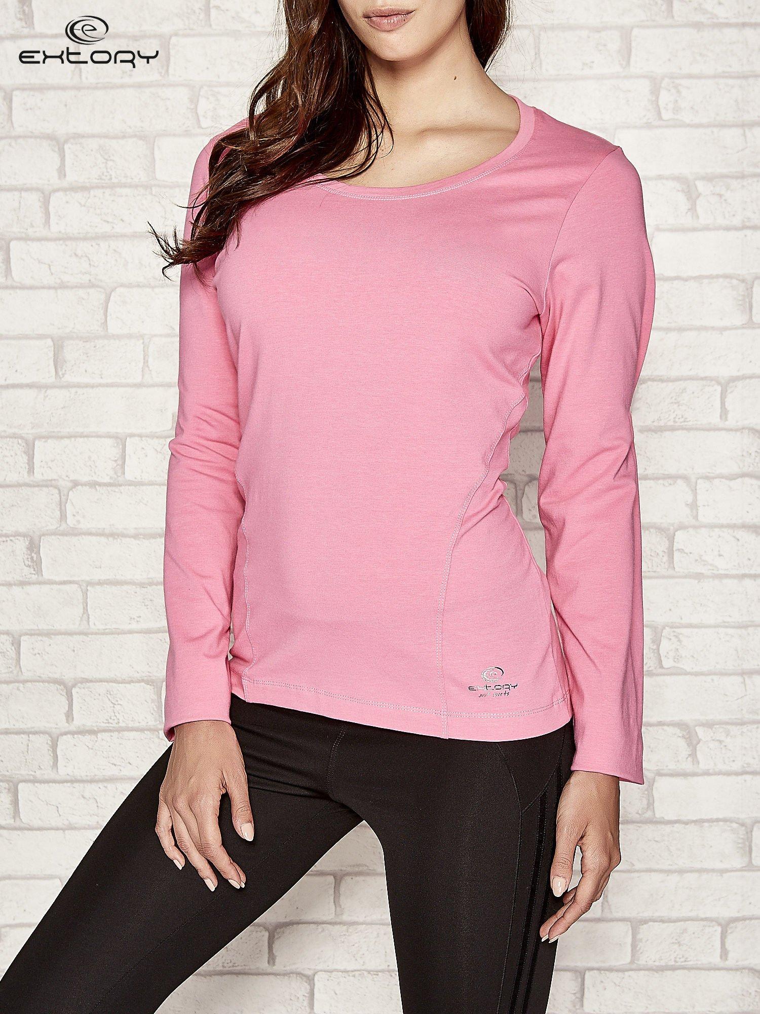 Różowa bluzka sportowa z dekoltem U                                  zdj.                                  1
