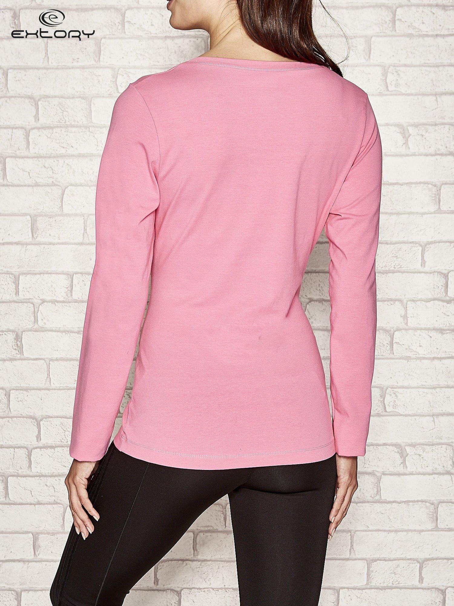 Różowa bluzka sportowa z dekoltem U                                  zdj.                                  4