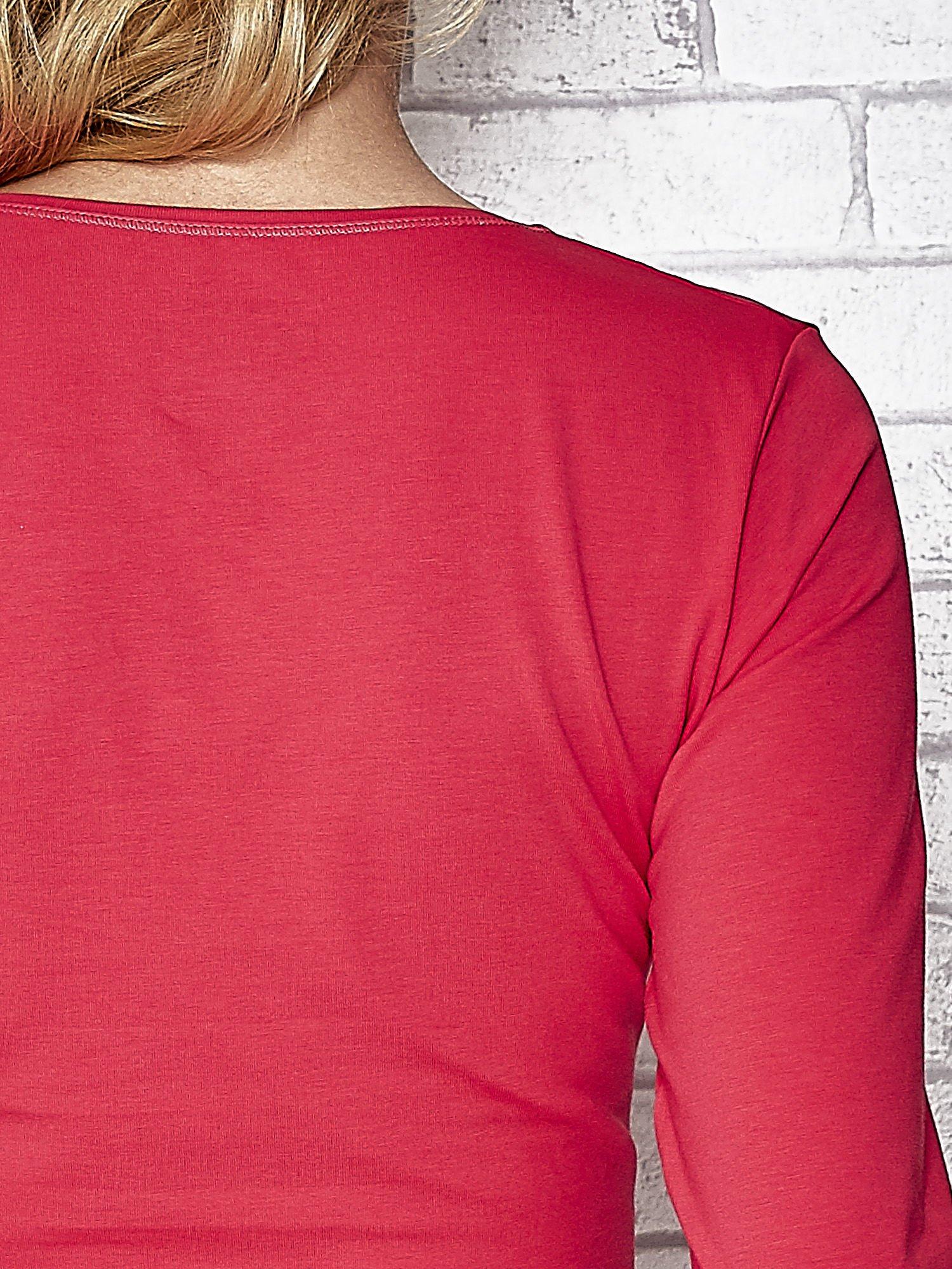 Różowa bluzka sportowa z dekoltem V                                  zdj.                                  7