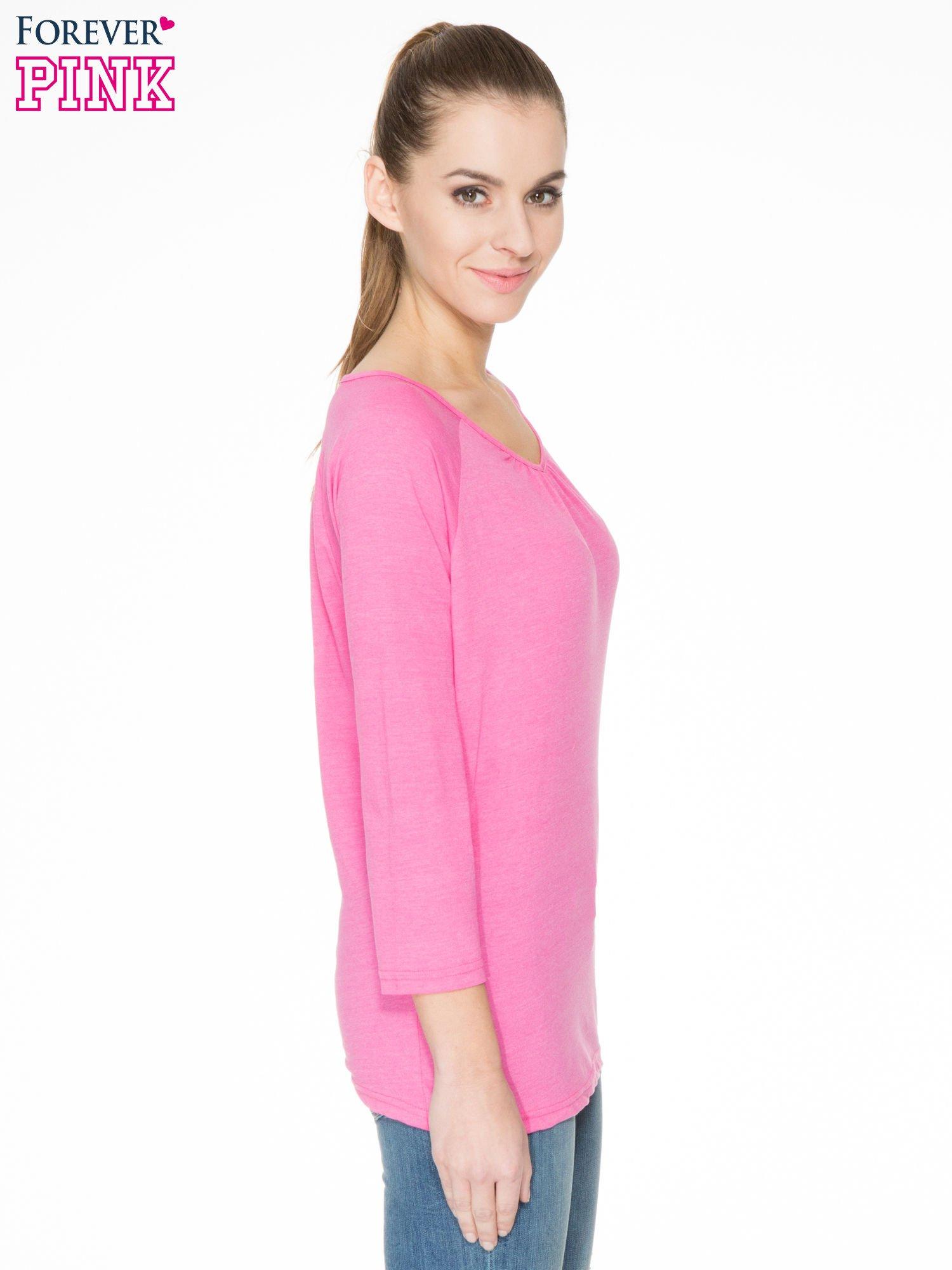 Różowa bluzka z marszczonym dekoltem i rękawkami 3/4                                  zdj.                                  3