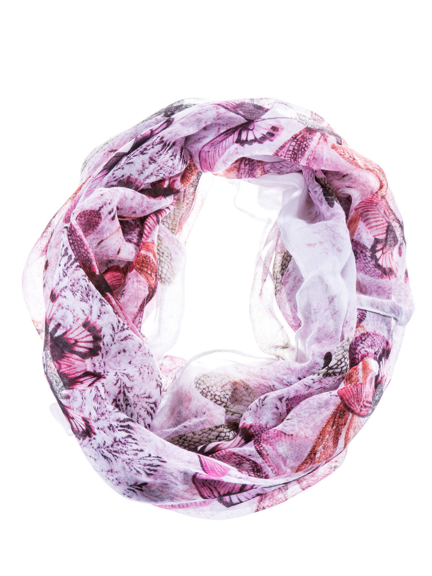 Różowa chusta szal w ważki                                  zdj.                                  2