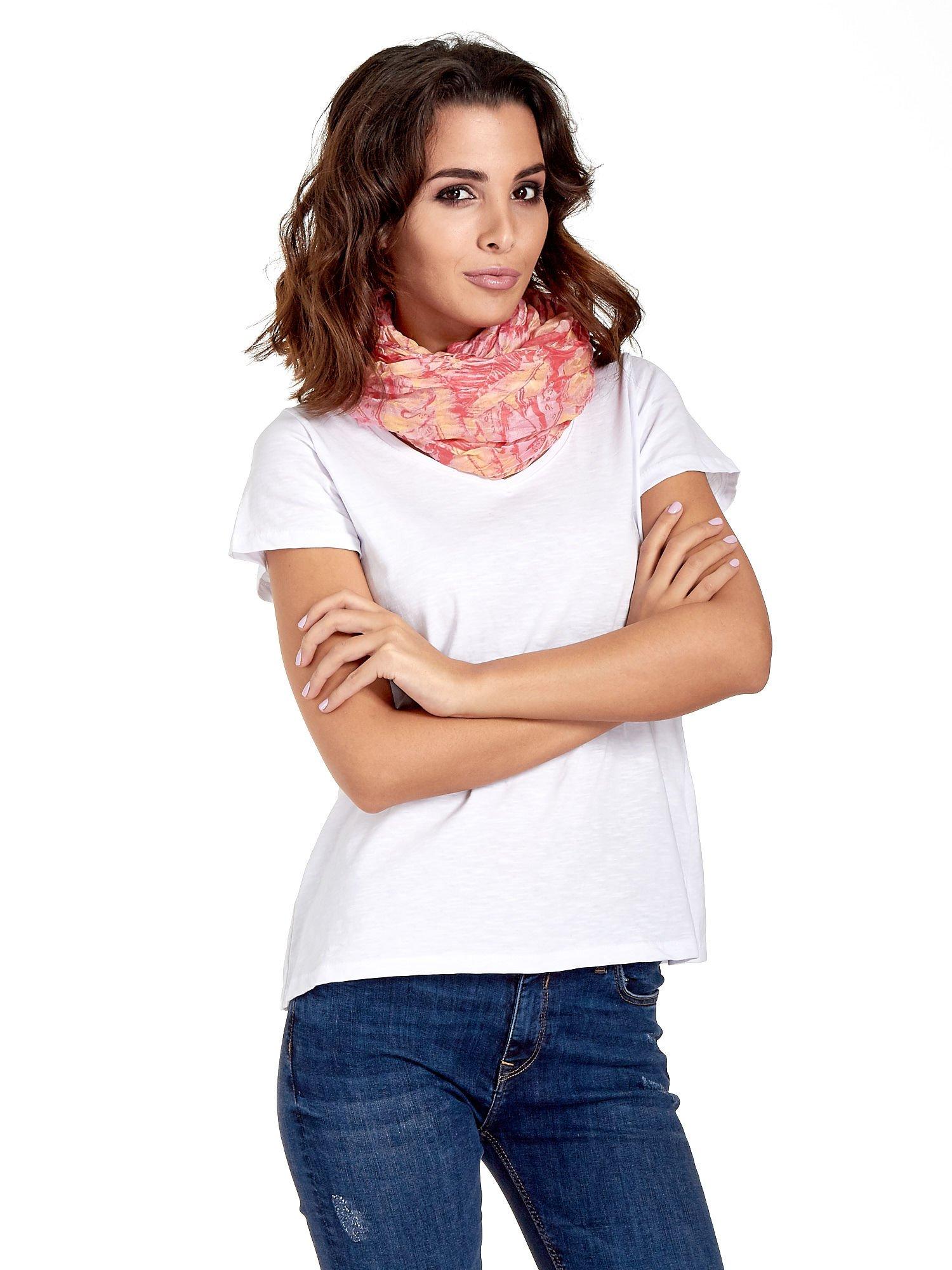 Różowa chusta z palmowym motywem                                   zdj.                                  1