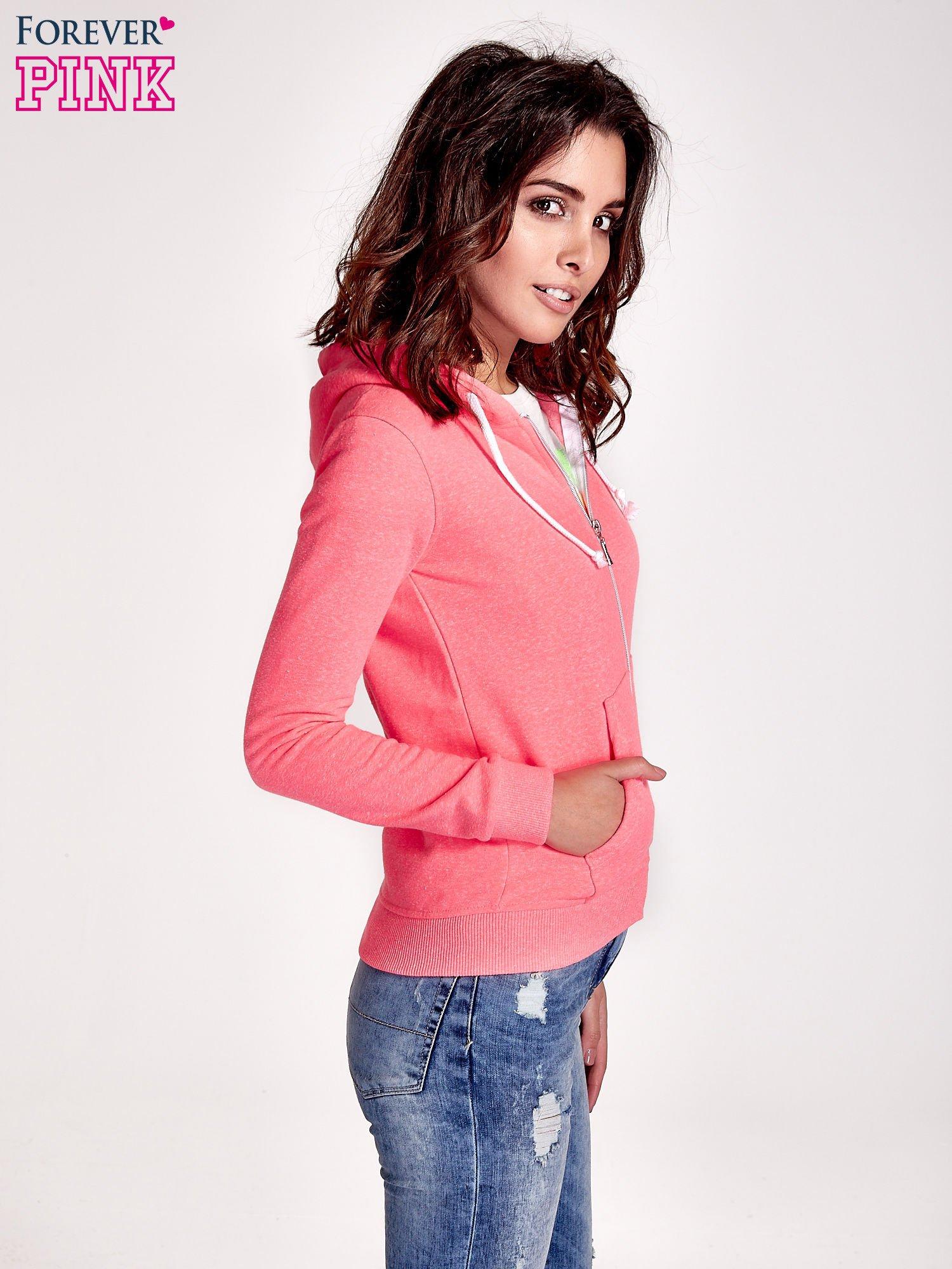 Różowa gładka bluza z kapturem                                  zdj.                                  3