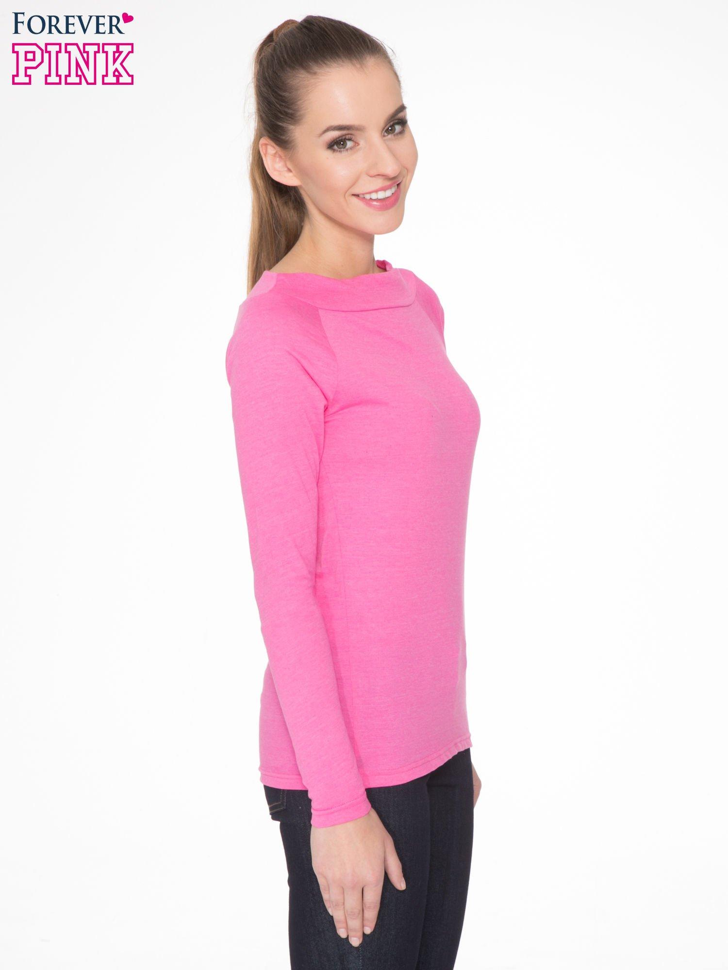 Różowa gładka bluzka z reglanowymi rękawami                                  zdj.                                  3