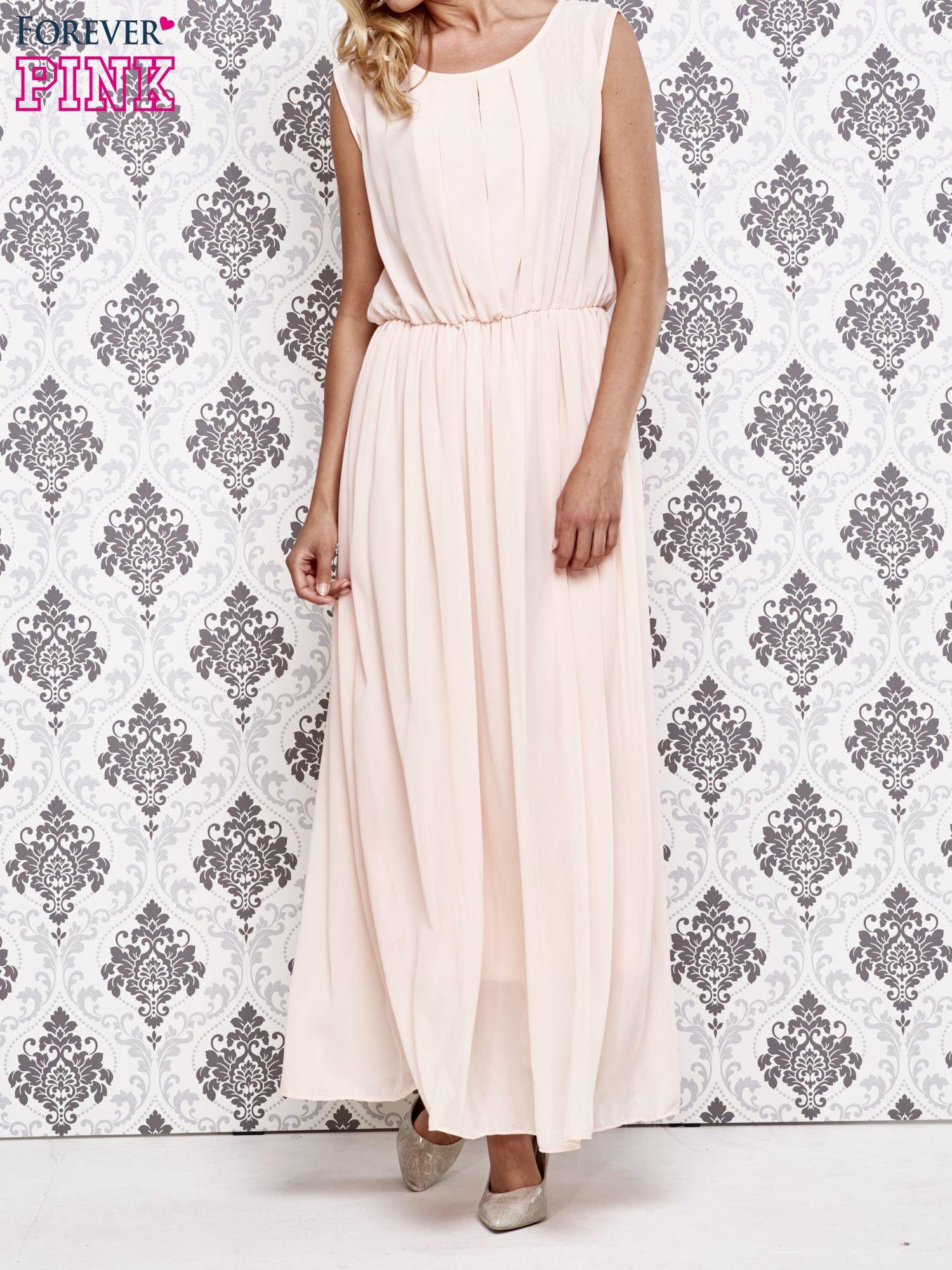 2fe6006840 Różowa grecka sukienka maxi z koronką z tyłu - Sukienka koktajlowa - sklep  eButik.pl