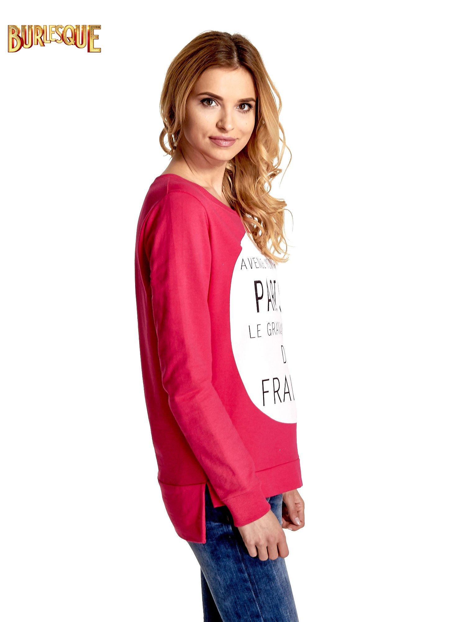 Rózowa klasyczna bluza damska z napisem AVENUE MONTAIGNE                                  zdj.                                  3