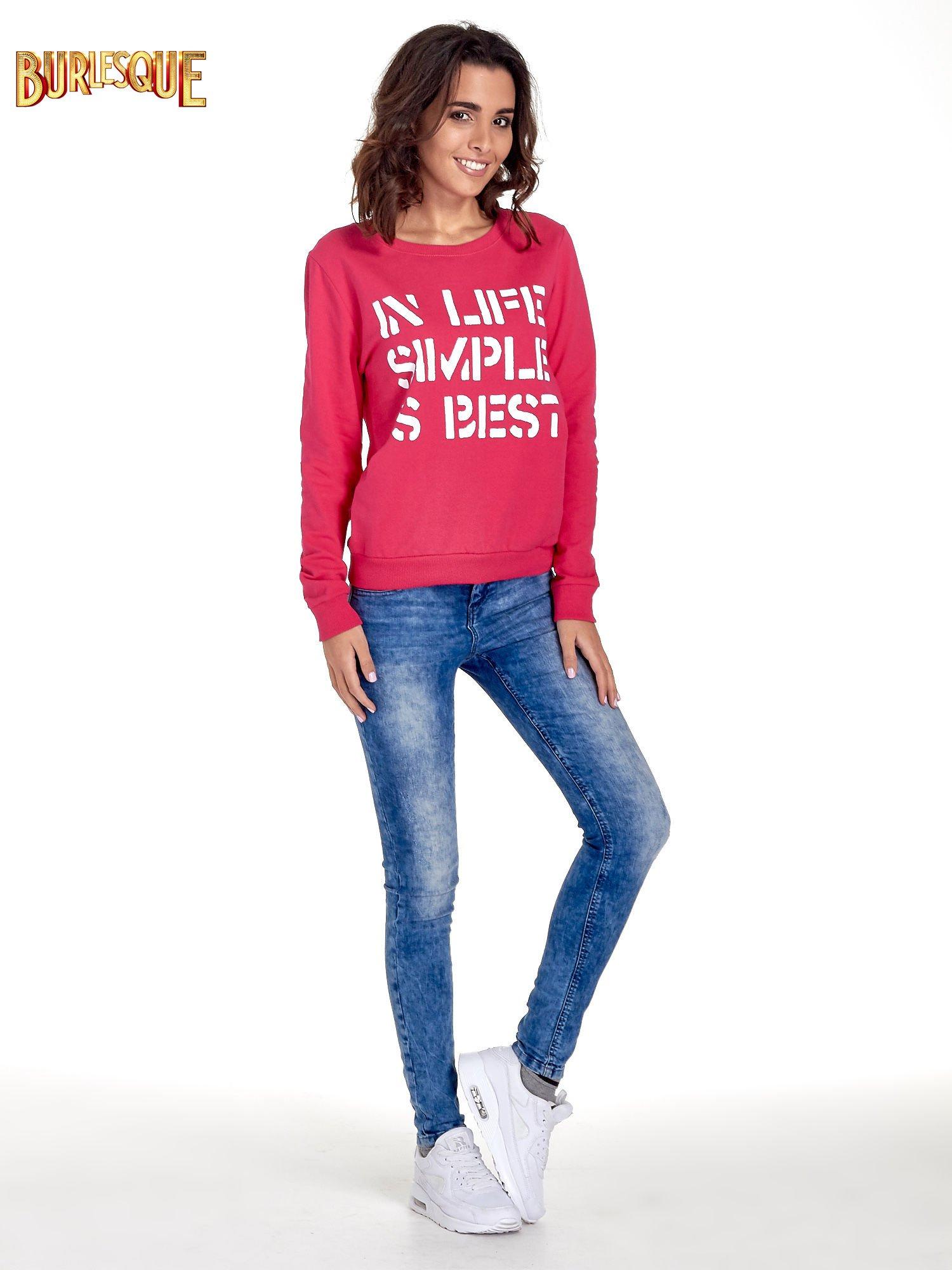 Różowa klasyczna bluza damska z napisem IN LIFE SIMPLE IS BEST                                  zdj.                                  2