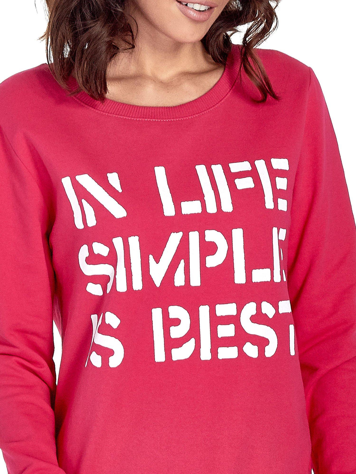 Różowa klasyczna bluza damska z napisem IN LIFE SIMPLE IS BEST                                  zdj.                                  5