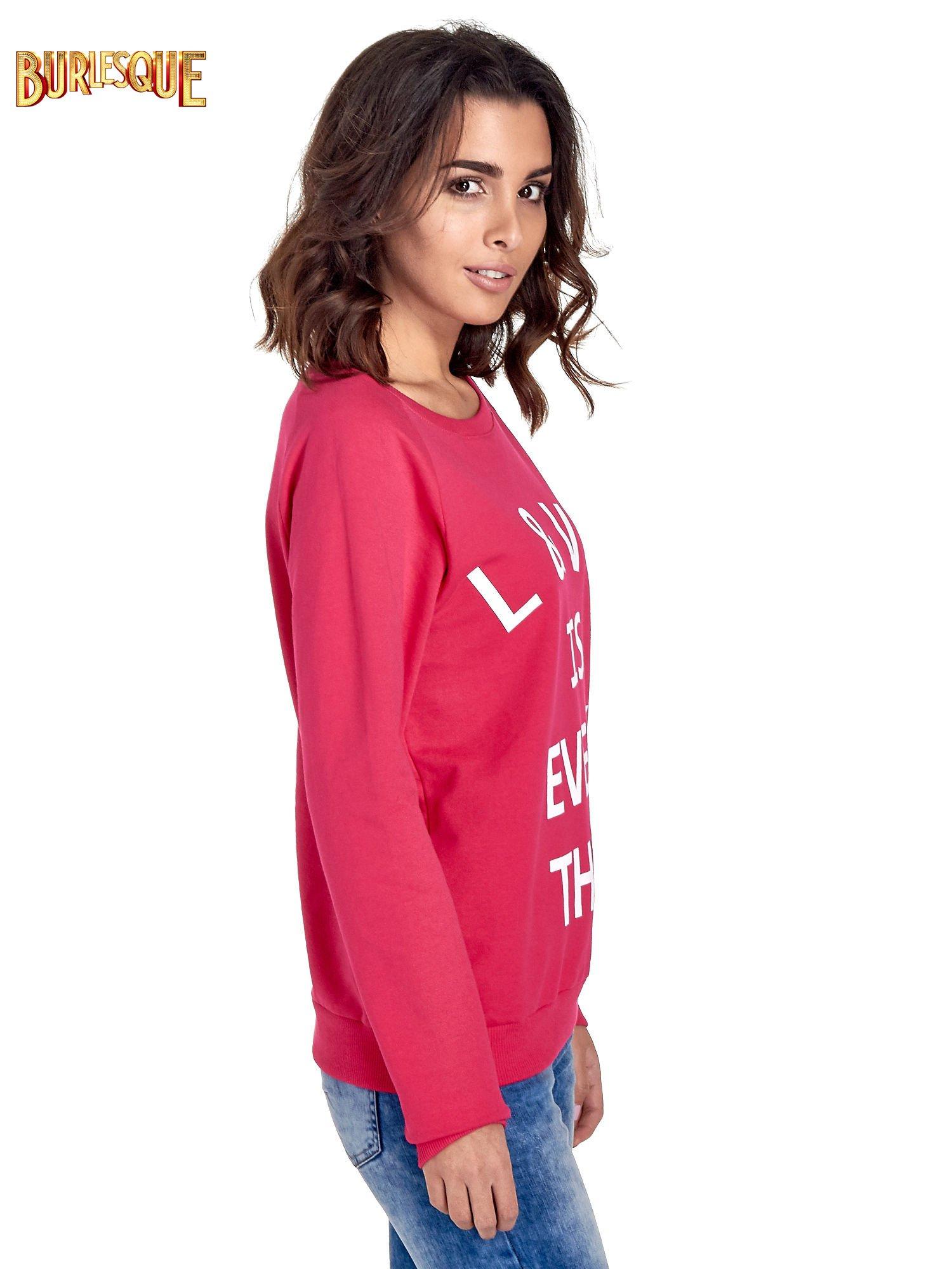 Różowa klasyczna damska bluza z napisem LOVE IS EVERYTHING                                  zdj.                                  3