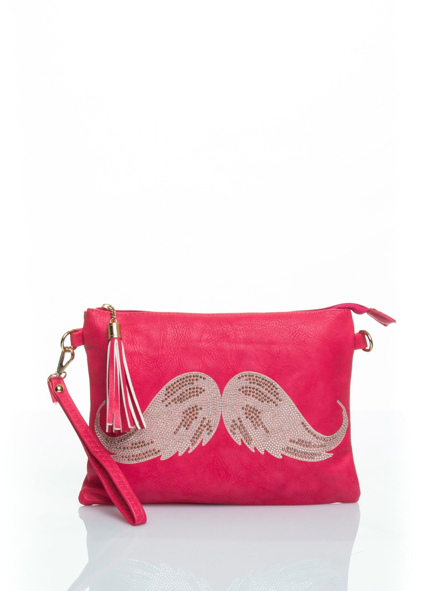 Różowa kopertówka z dżetami motyw wąsów                                  zdj.                                  1