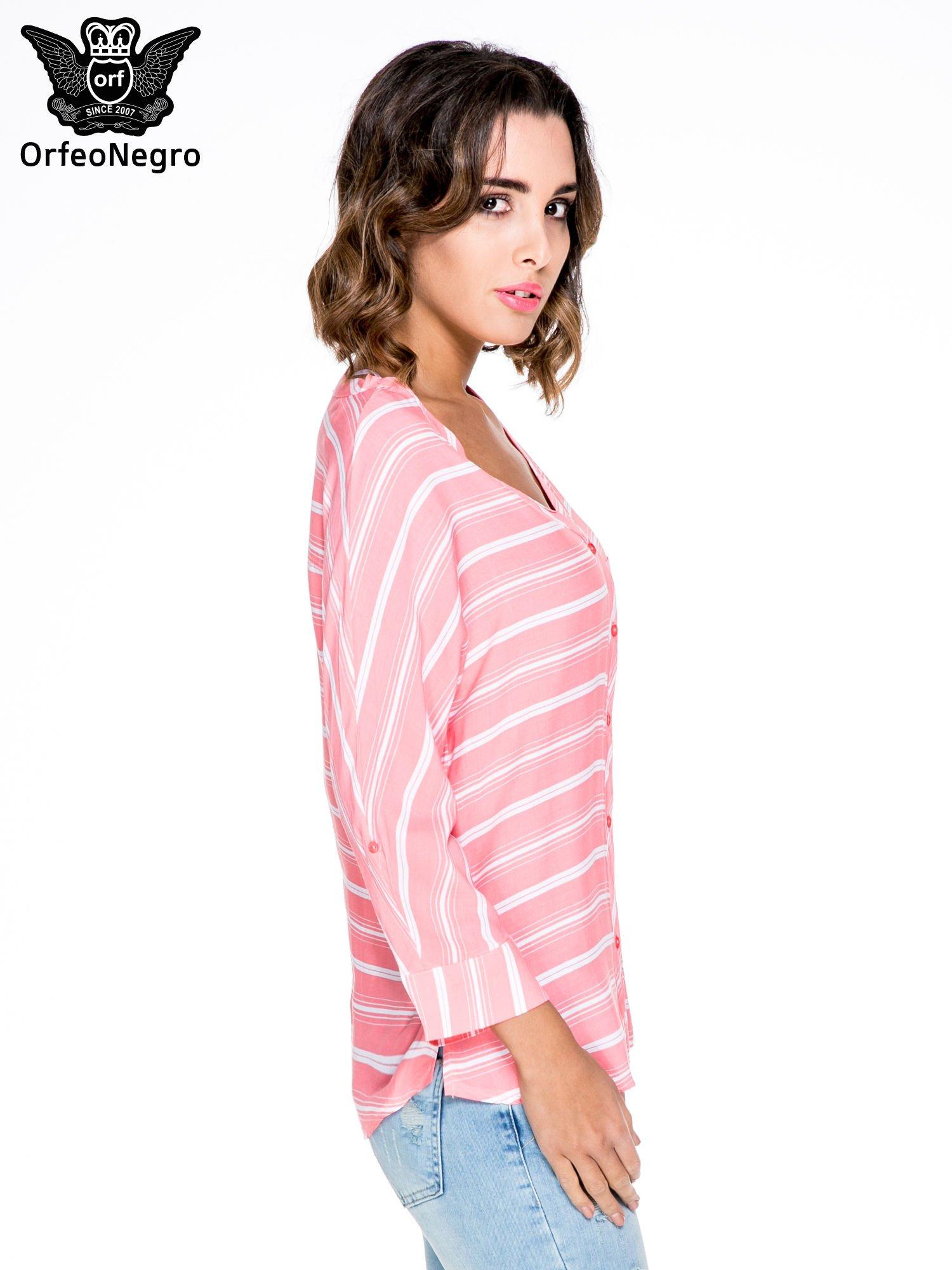 Różowa koszula w paski z rękawem 3/4                                  zdj.                                  3