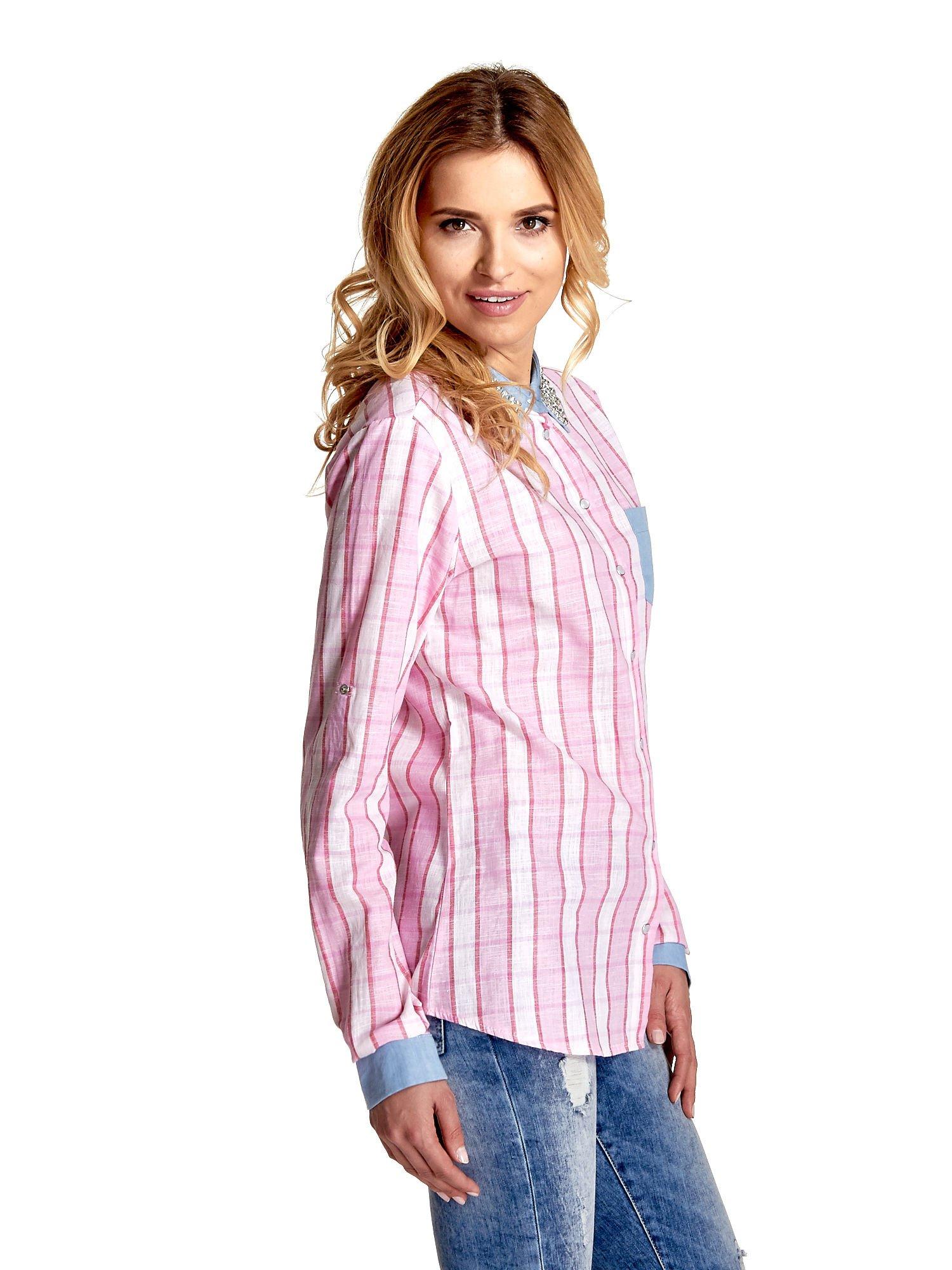 Różowa koszula w pasy z kołnierzykiem, mankietami i kieszonką z jasnego denimu                                  zdj.                                  3