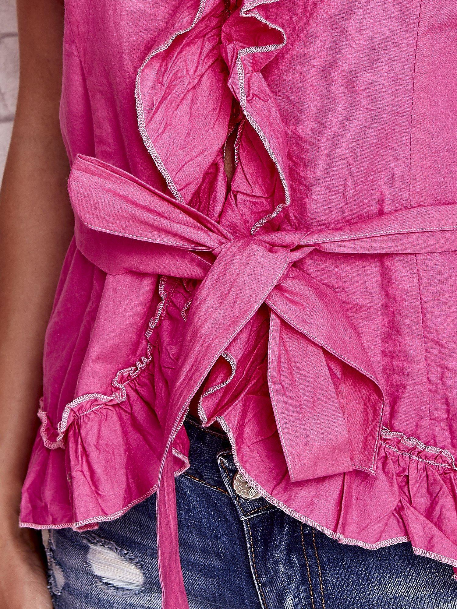 Różowa koszula z wiązaniem i falbankami FUNK N SOUL                                  zdj.                                  6