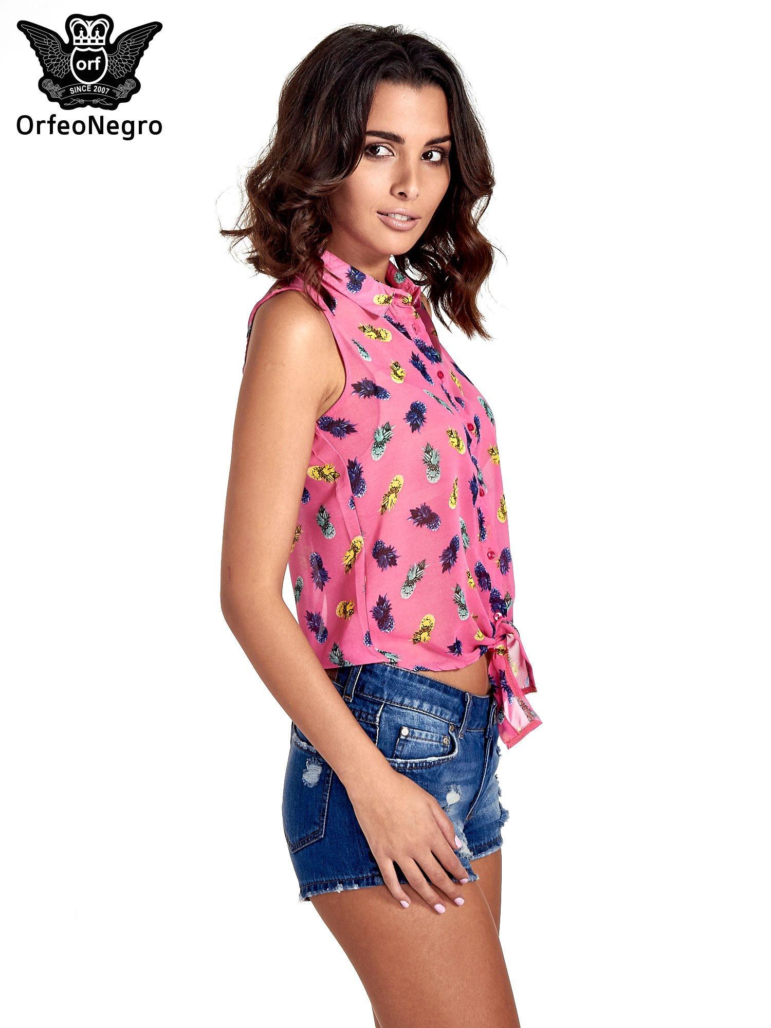 Różowa koszula z wiązaniem w ananasy                                  zdj.                                  3