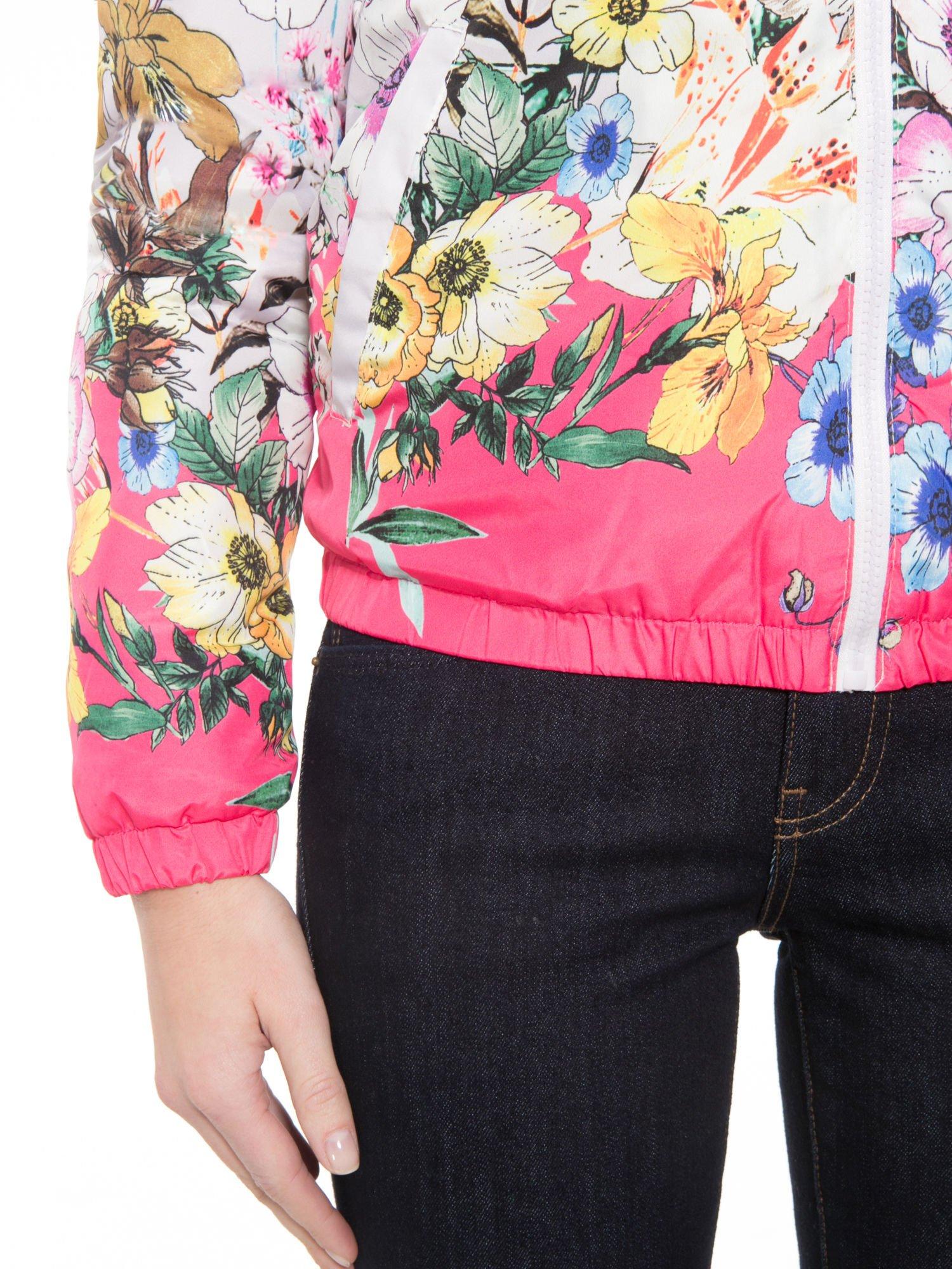 Różowa kwiatowa kurtka bomber jacket z kapturem                                  zdj.                                  7