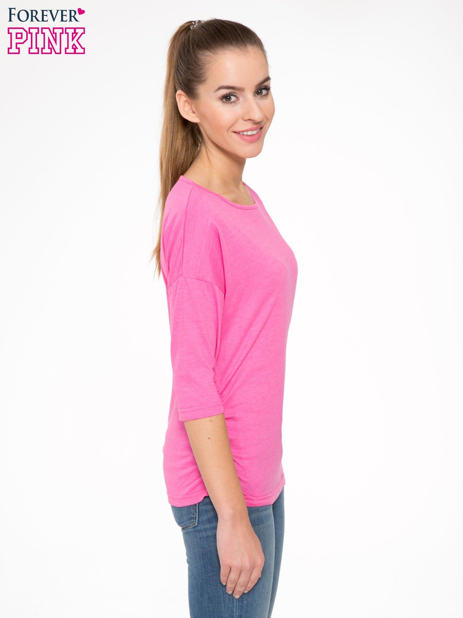 Różowa luźna bluzka z rękawem 3/4                                  zdj.                                  3
