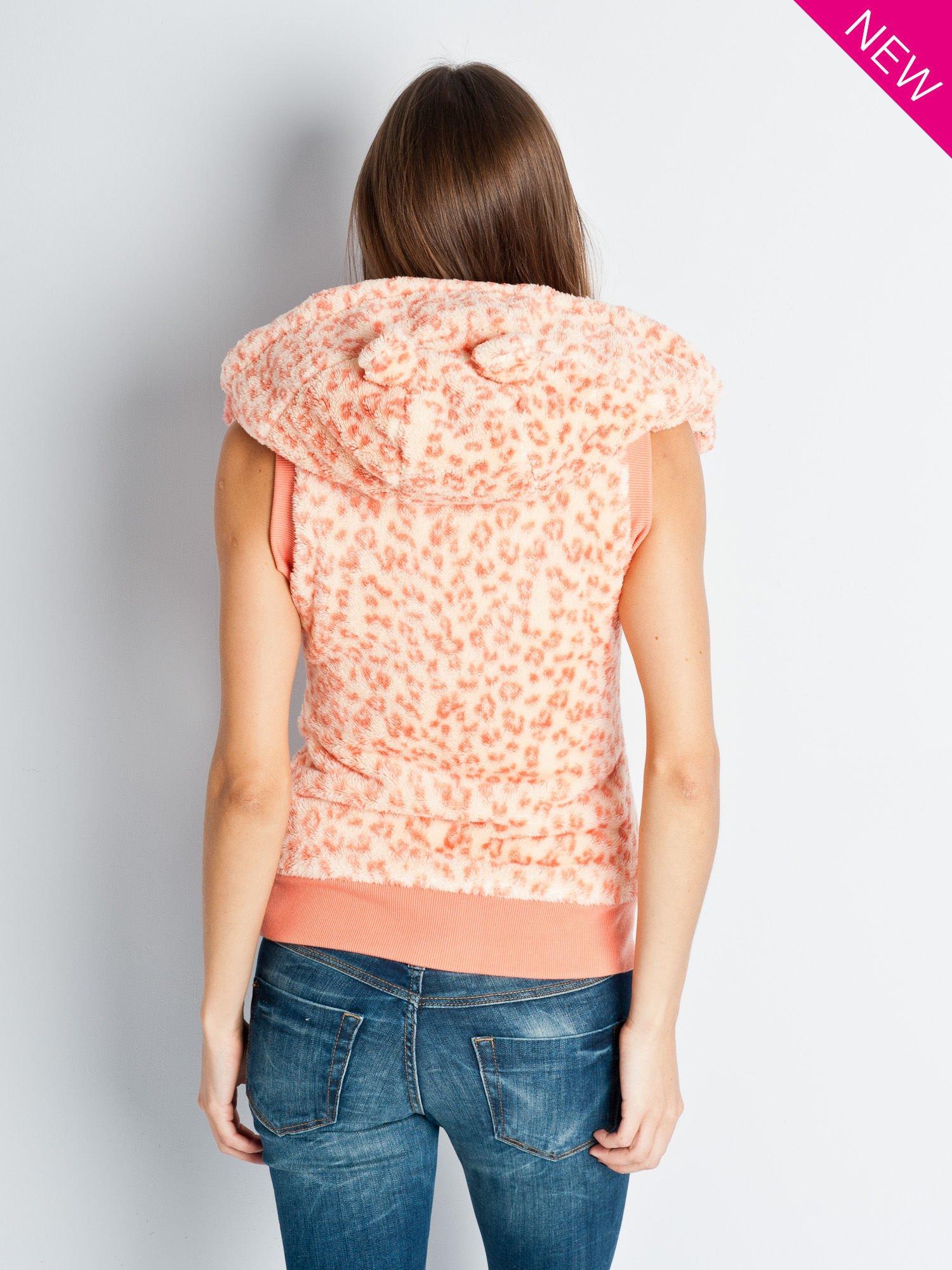 Różowa panterkowa kamizelka z kapturem z uszkami                                  zdj.                                  7