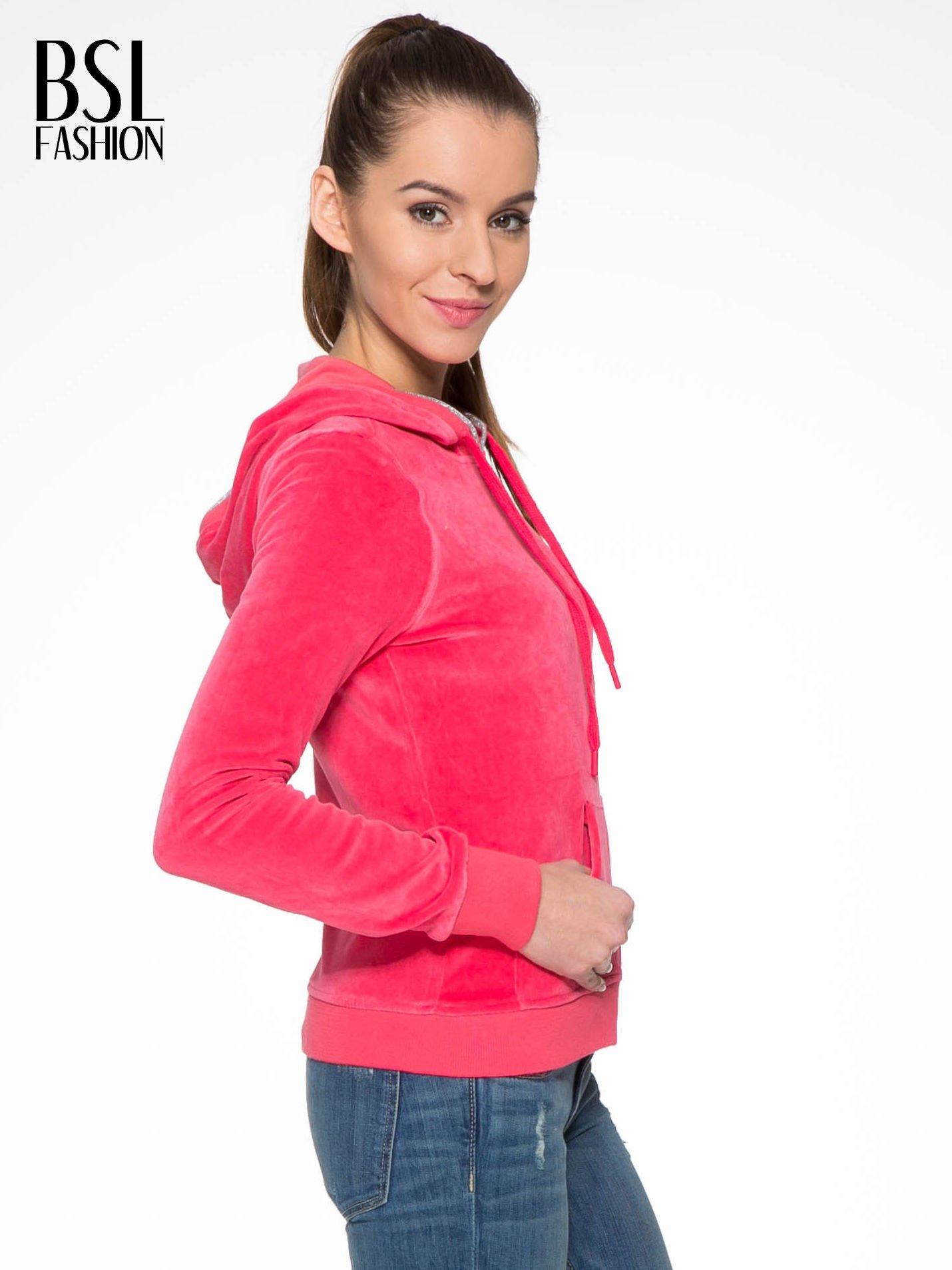 Różowa pluszowa bluza z kapturem zasuwana na suwak                                  zdj.                                  3